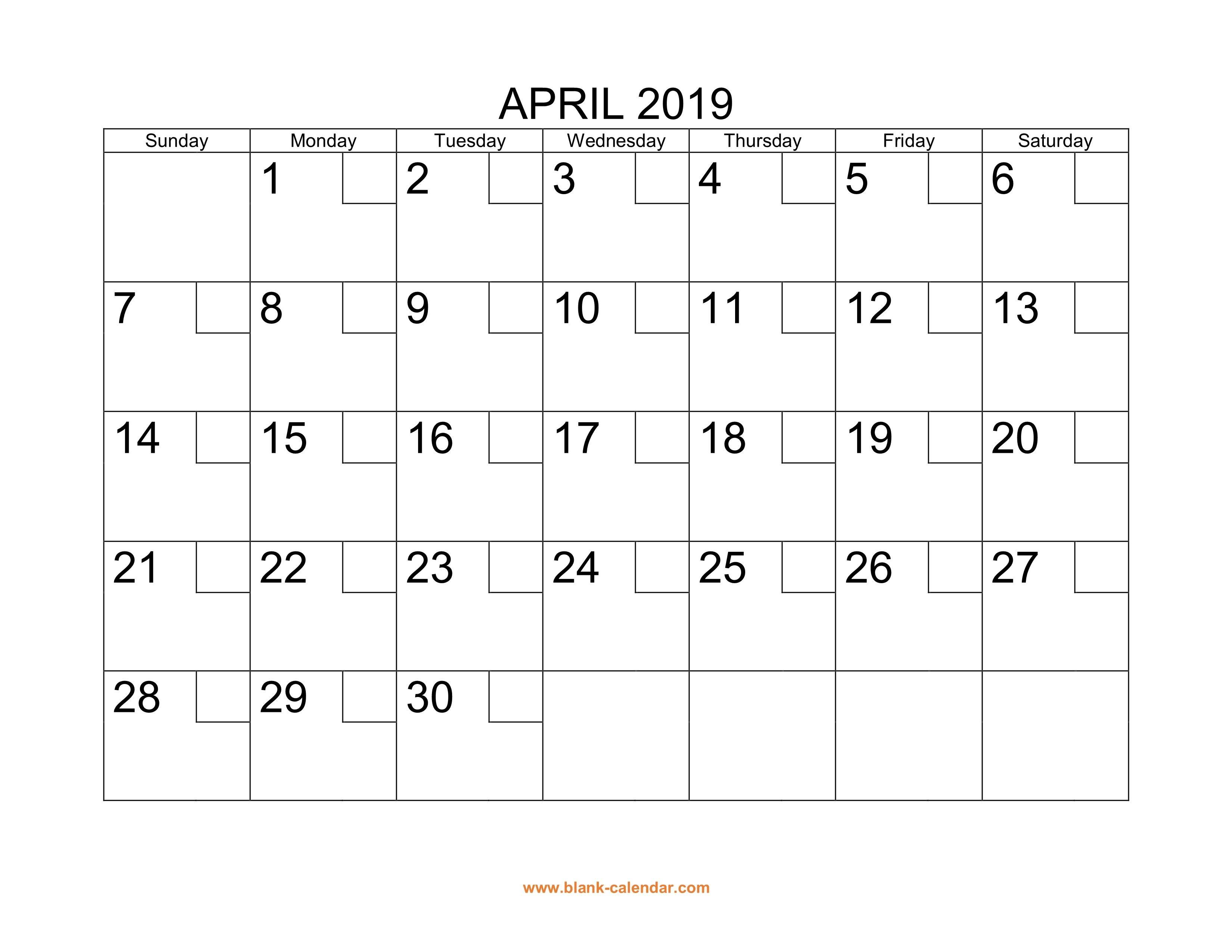 Printable April 2019 Calendar Template