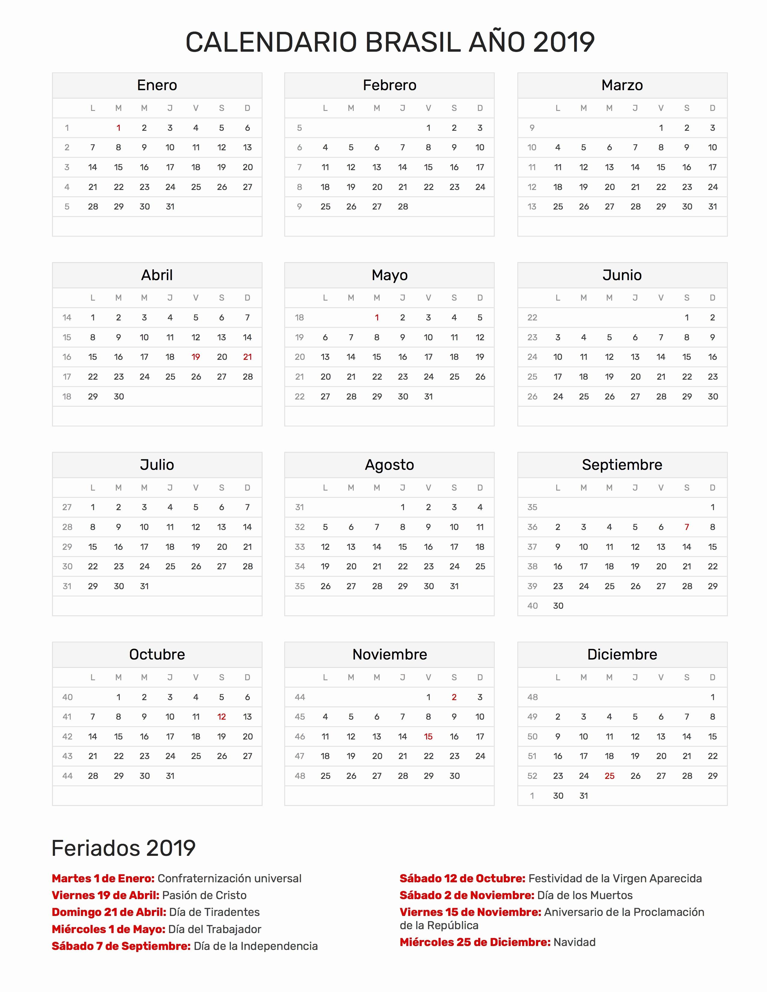 Calendario De Trimestres De Embarazo 2019 Calendario Brasil Ano 2019 Feriados