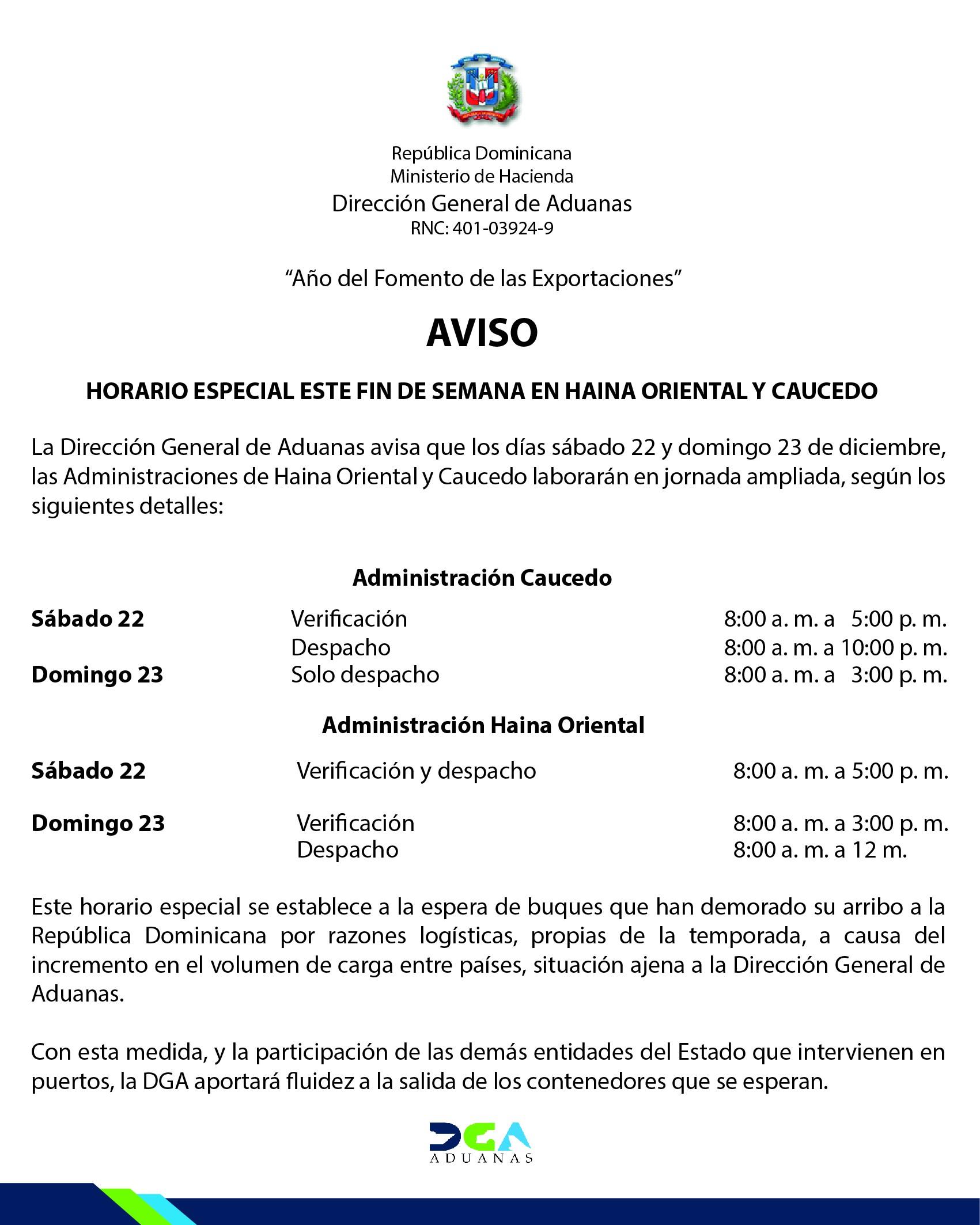 Inicio · Direccion General de Aduanas · DGA · Republica Dominicana