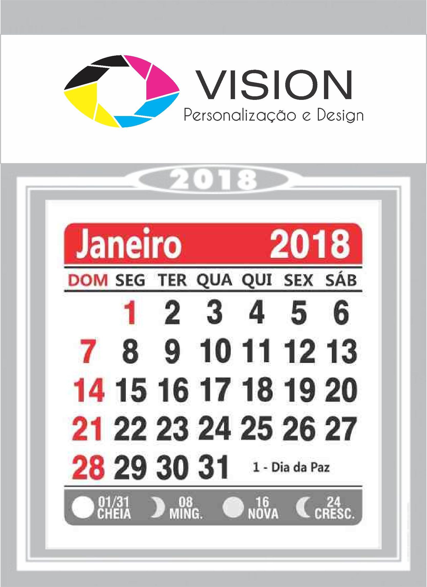 bloco de calendario ercial 2018