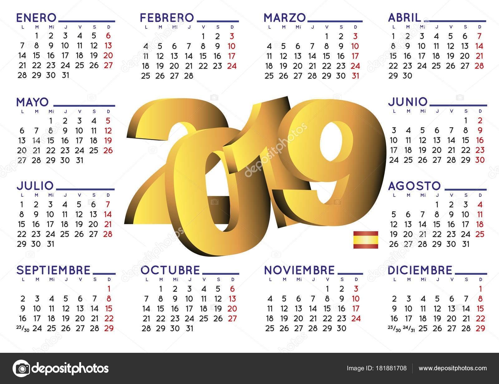 Calendario 2019 en Espa±ol horizontal — Archivo Imágenes Vectoriales
