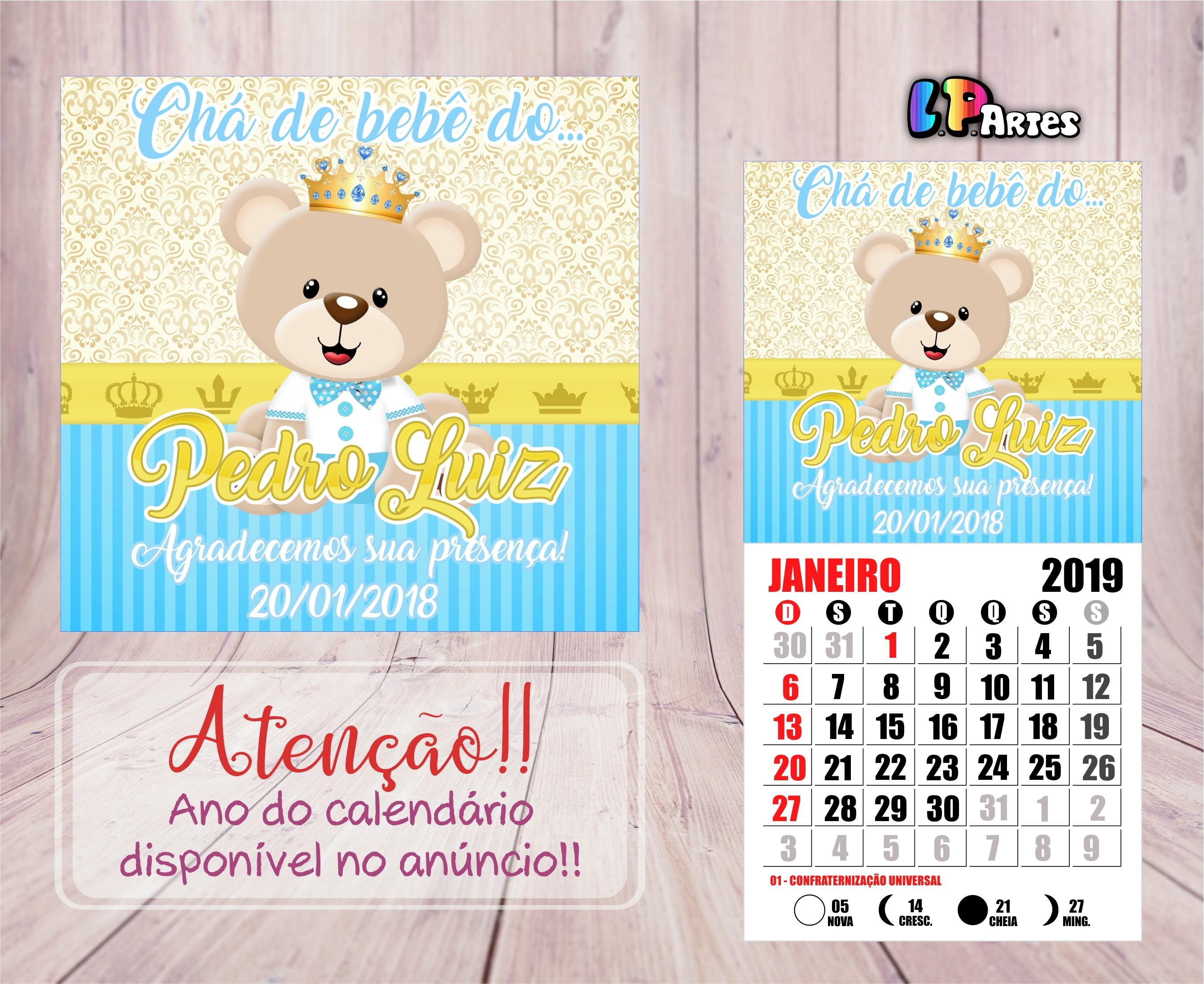 mini calendario ima 2019 ursinho realeza azul claro ursinho