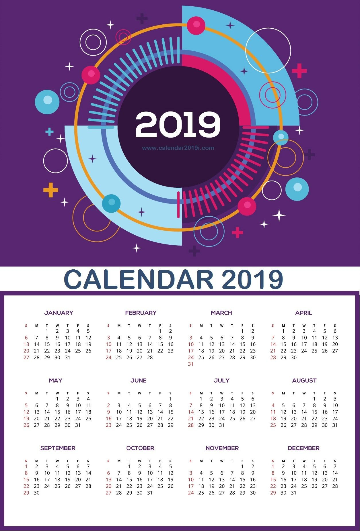 Wall Calendar 2019 planner Pinterest