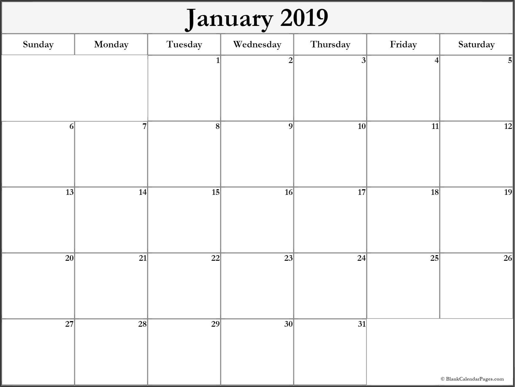 January 2019 monthly calendar printable