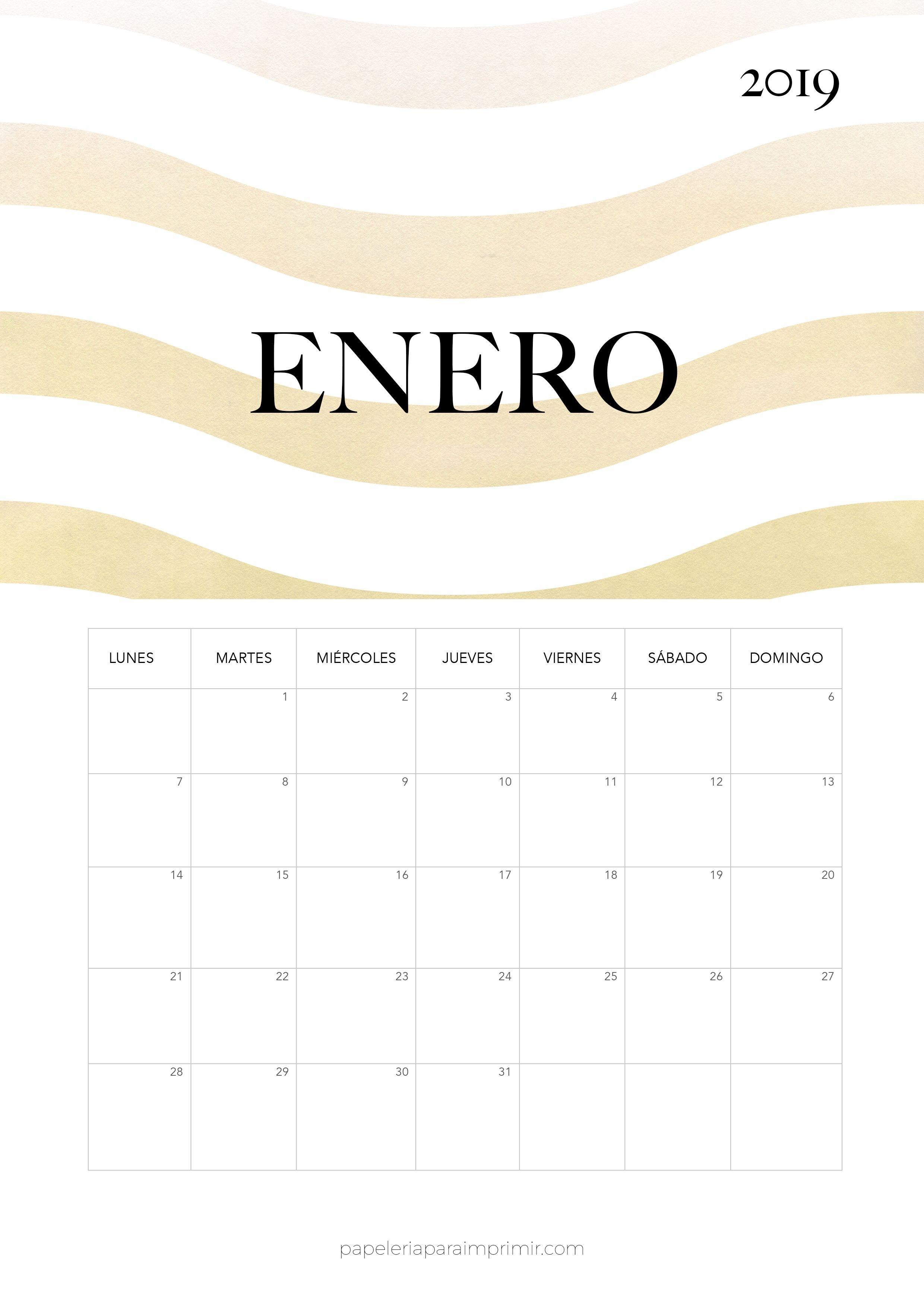 Calendario 2019 Enero Calendario mensual de estilo Minimal Moderno y con efecto acuarela