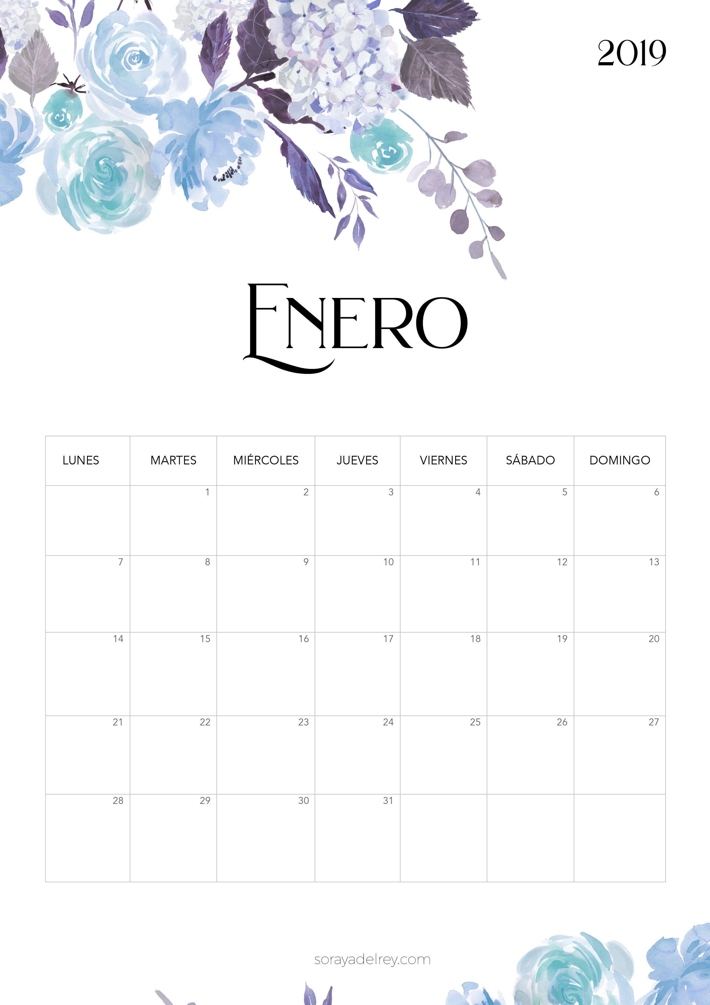 Calendario para imprimir Enero 2019 calendario calendar enero january printable freebie imprimir papeleria flores azul blue