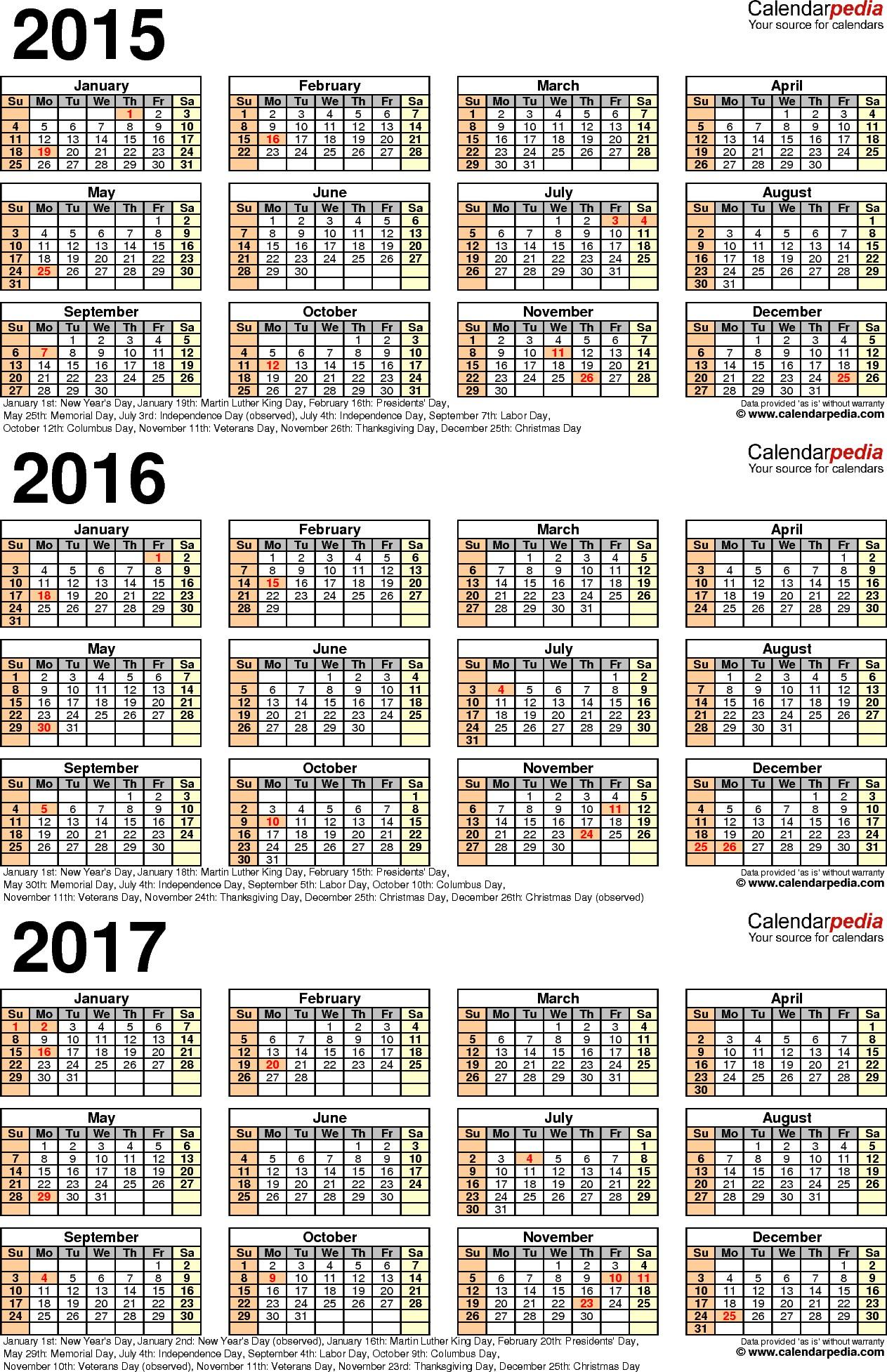 Calendario 2019 Mexico En Excel Más Actual 2015 2016 2017 Calendar 4 Three Year Printable Pdf Calendars