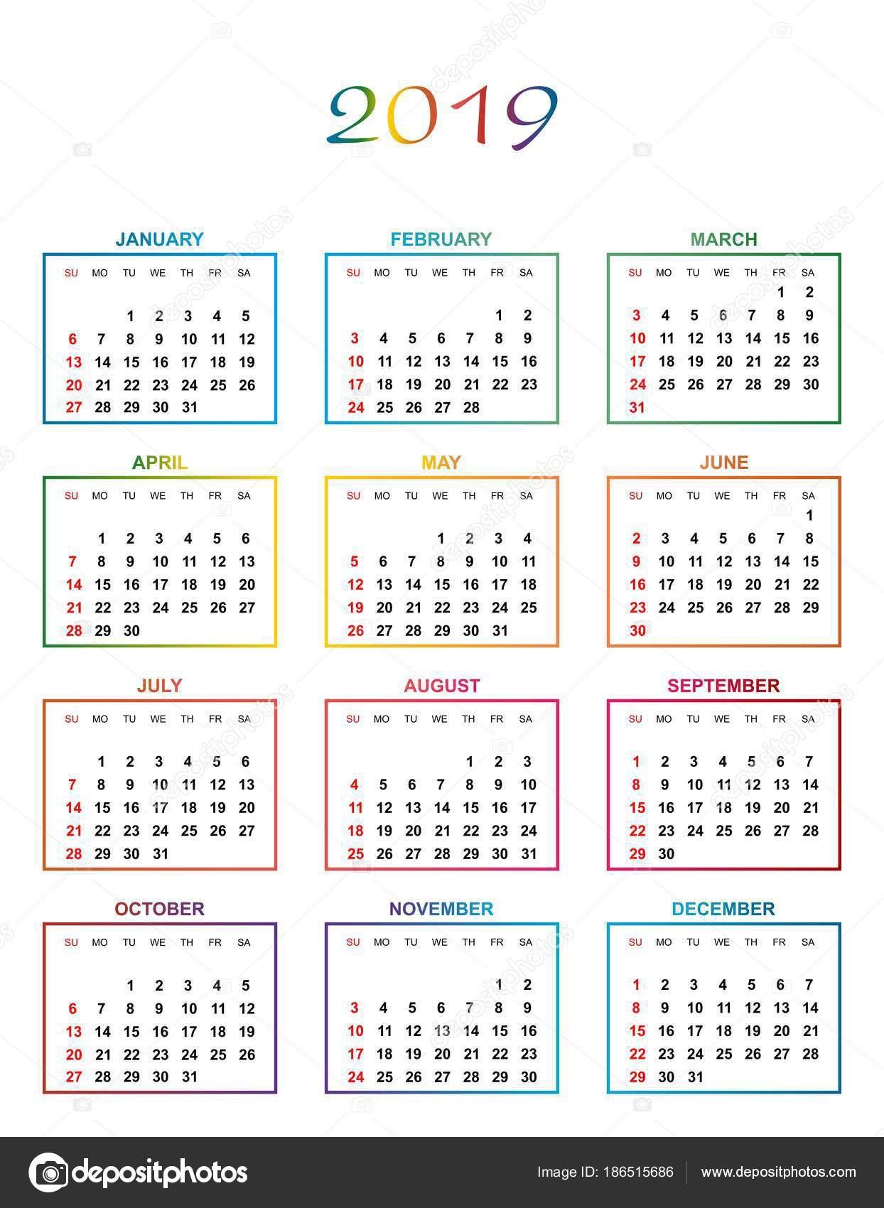 Prosty kolor kalendarza na rok 2019 Nazwy dni i miesięcy z rzędu numerowane dni w kolorowe kwadraciki na białym tle — Wektor od lacodk