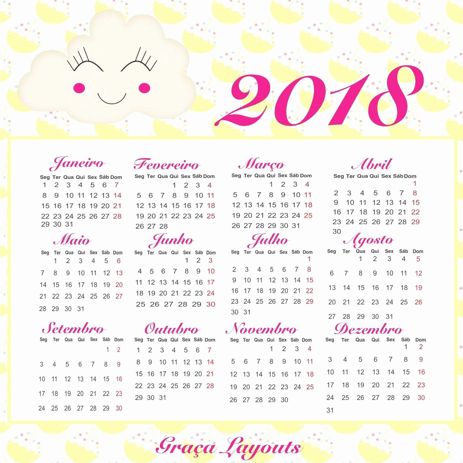 Calendário 2019 Personalizado Para Imprimir Calendario 2018 Para Baixar Graca Layouts Design
