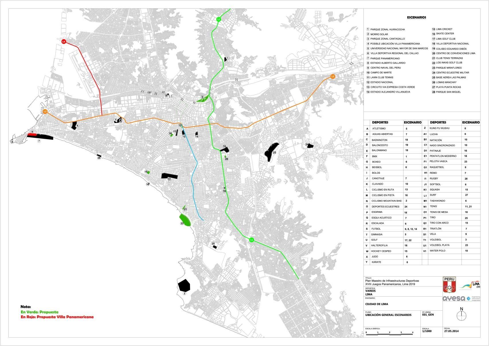 El mapa Panamericano de Lima 2019