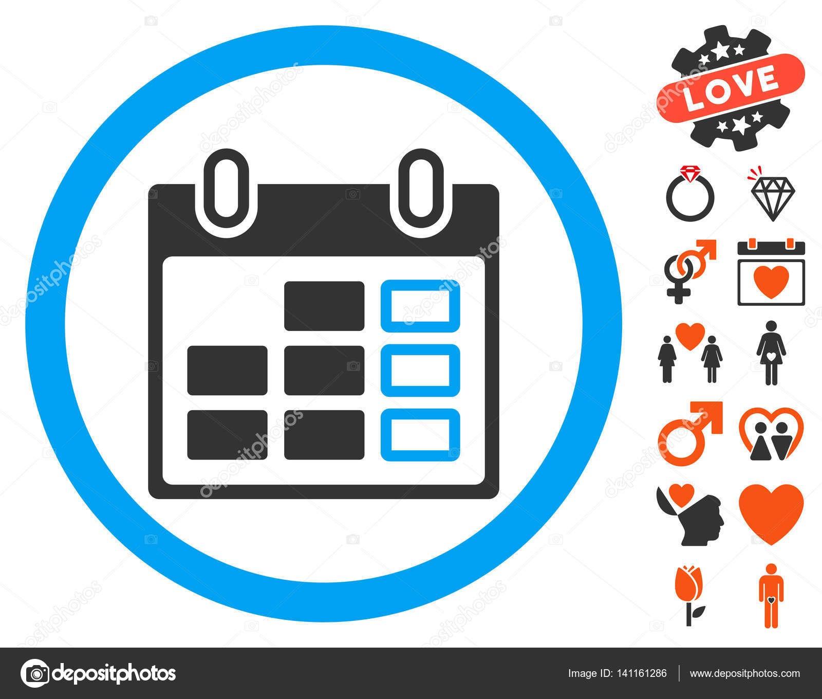 Pictograma de semana calendario con pictogramas de bono San Valentn Vector ilustraci³n estilo es plano ic³nicos smbolos para dise±o web interfaces de