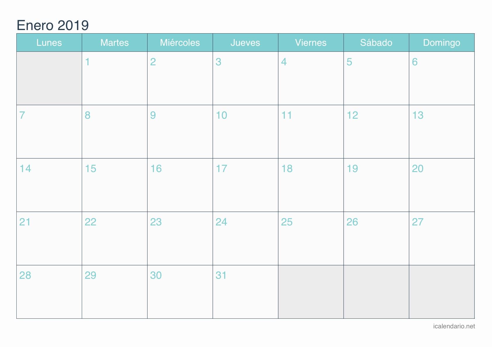 Calendario Junio 2019 En Blanco Calendario Enero 2019 Para Imprimir Icalendario Net