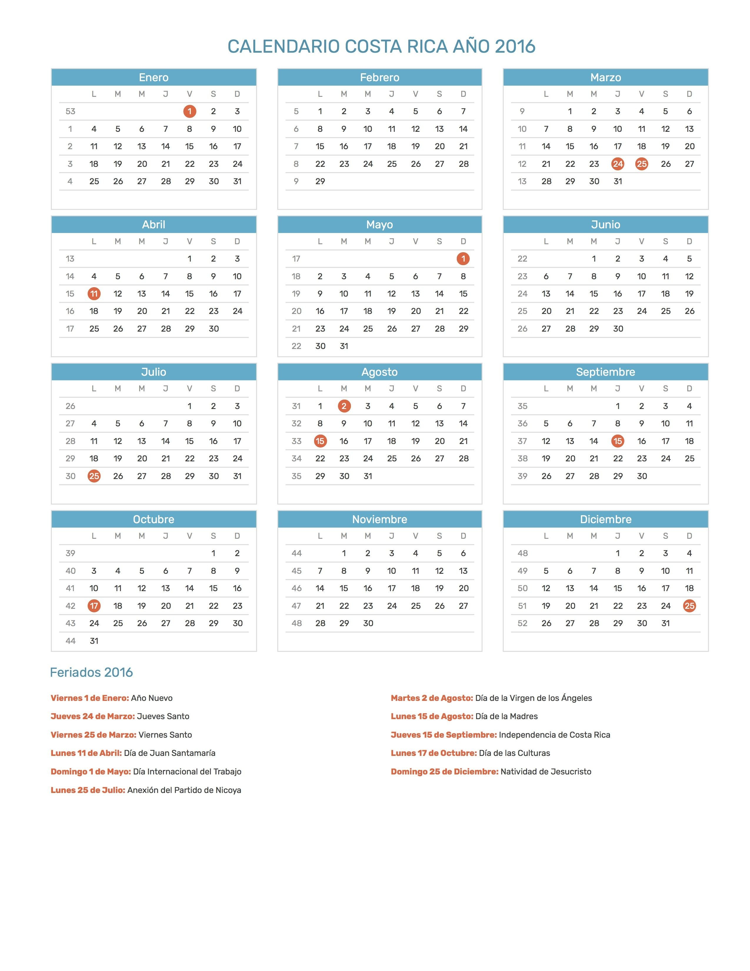 Pin de Calendario Hispano en Calendario con feriados a±o 2016 Pinterest
