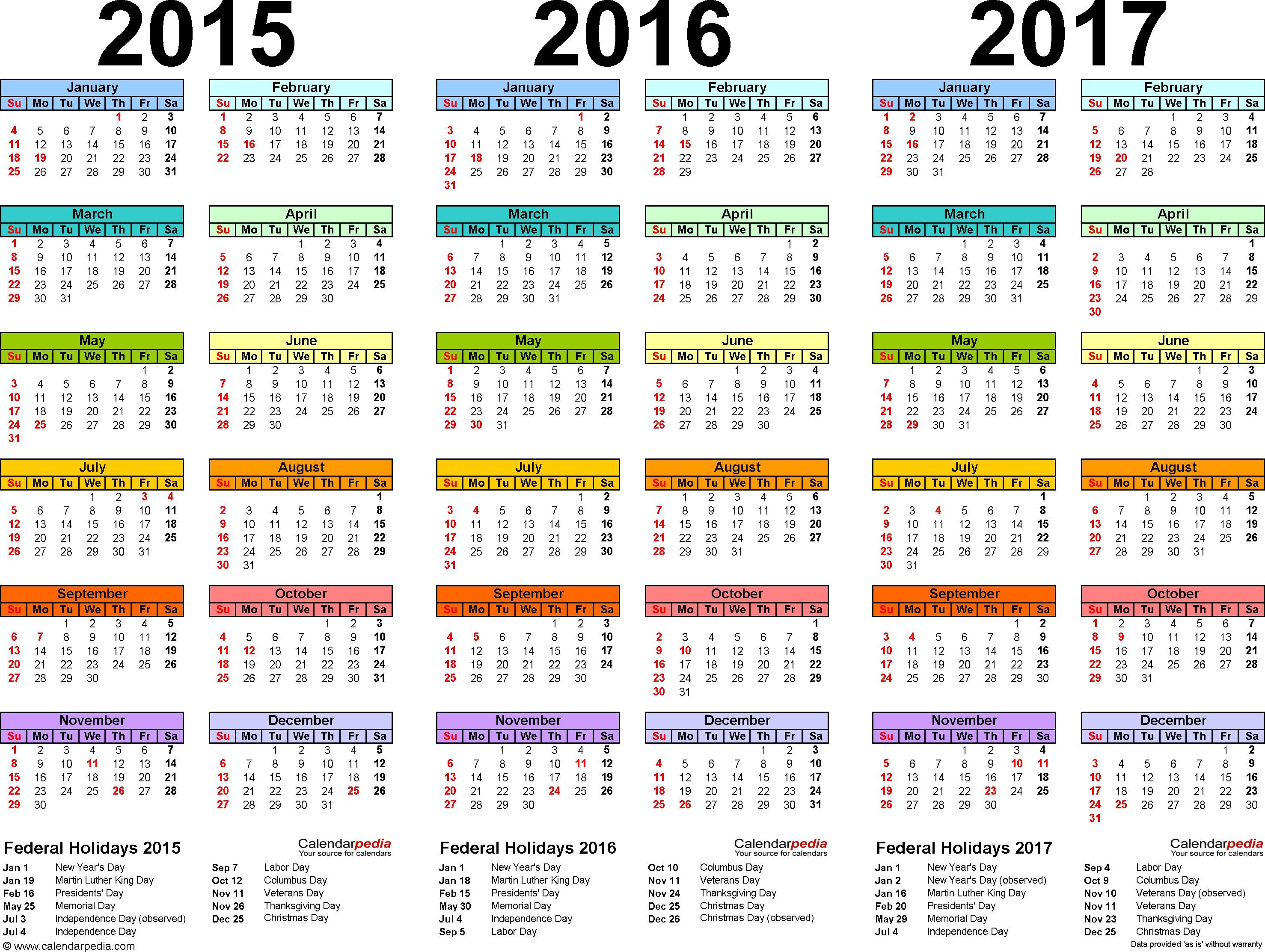 2015 2016 2017 calendar 4 three year printable PDF calendars