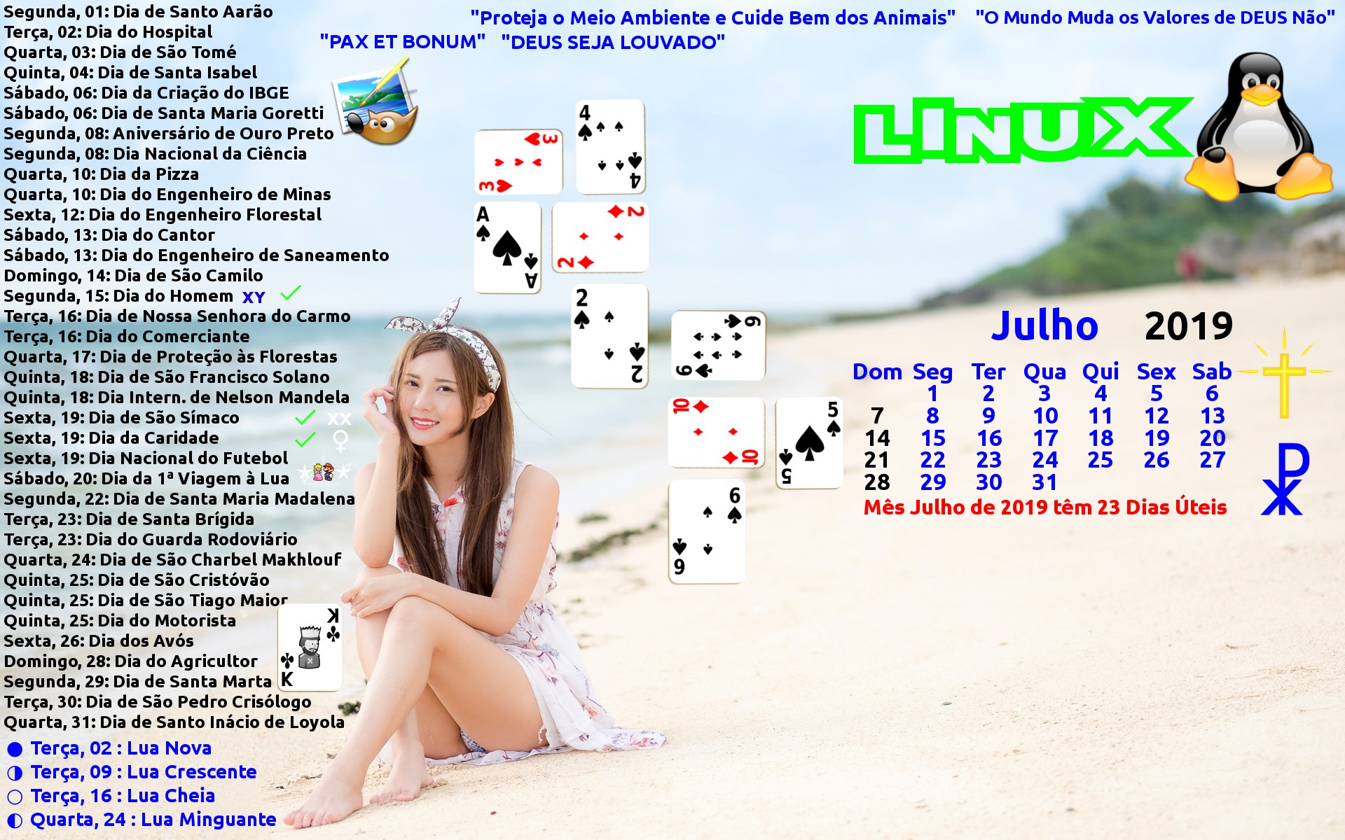 """Lian Xin Calendário Julho 2019 Promo Gimp Linux""""[ ]"""""""
