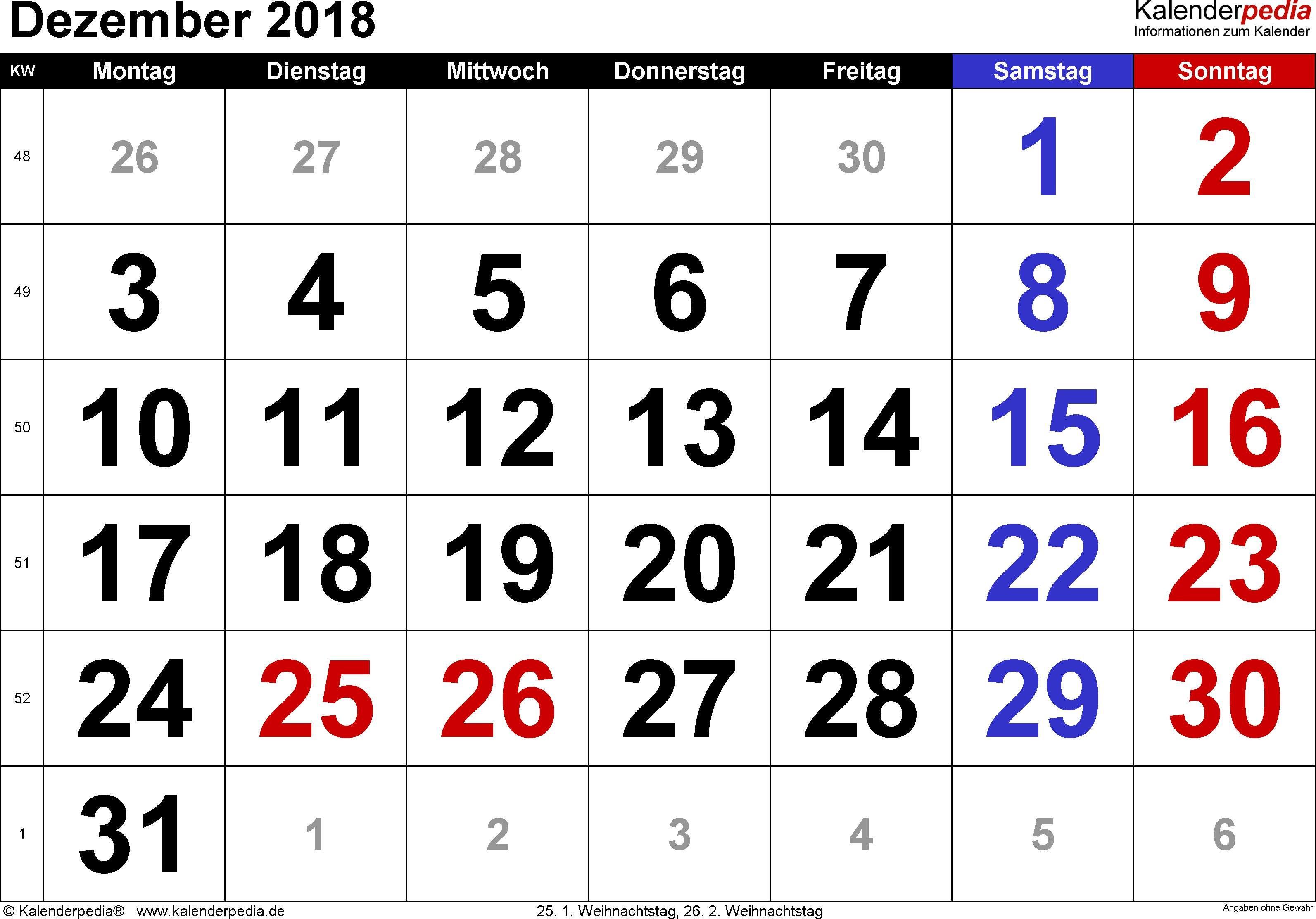 Kalender Dezember 2018