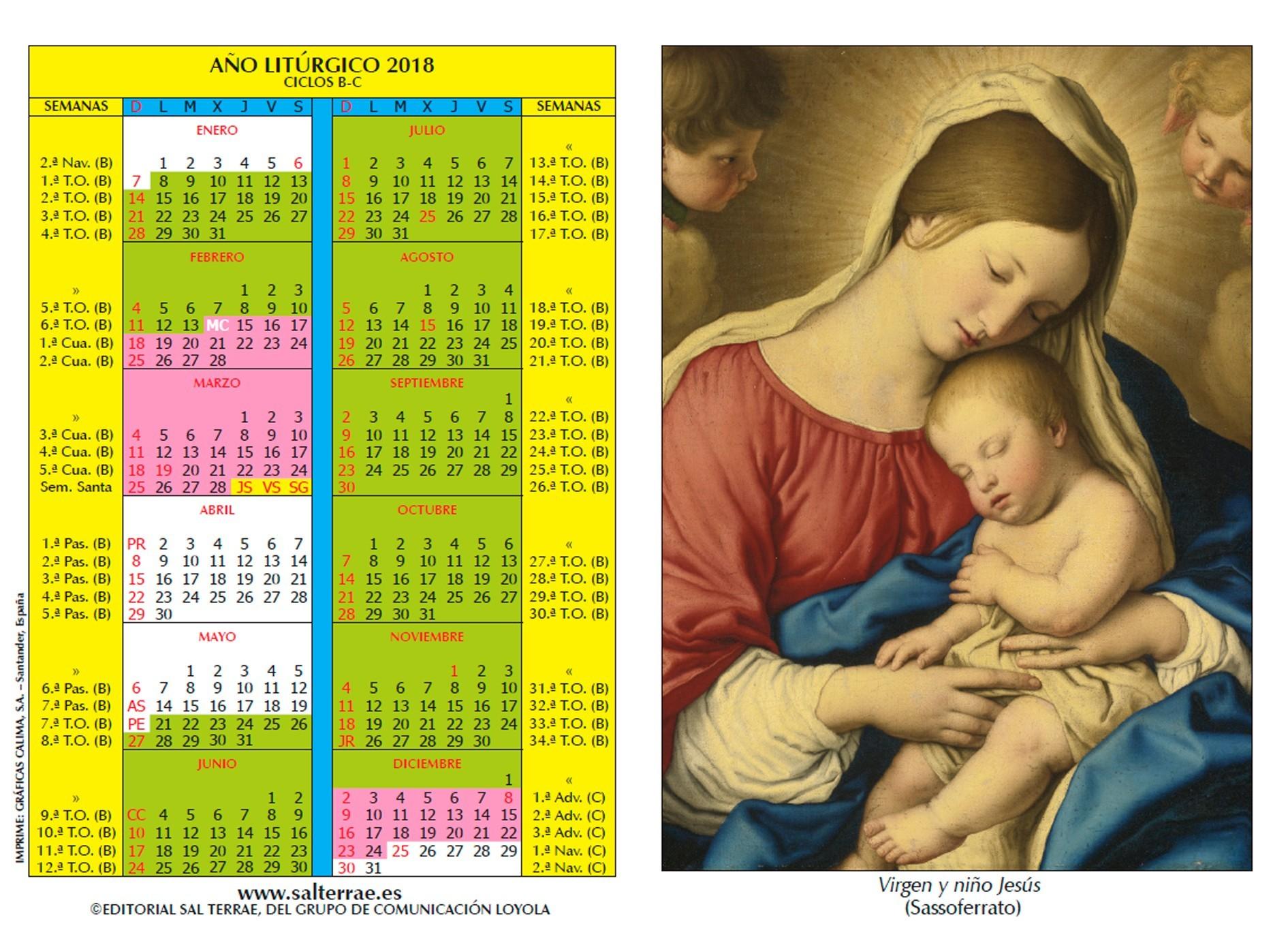 Calendarito del a±o Litºrgico 2018 Modelo Navidad Grupo de unicaci³n Loyola