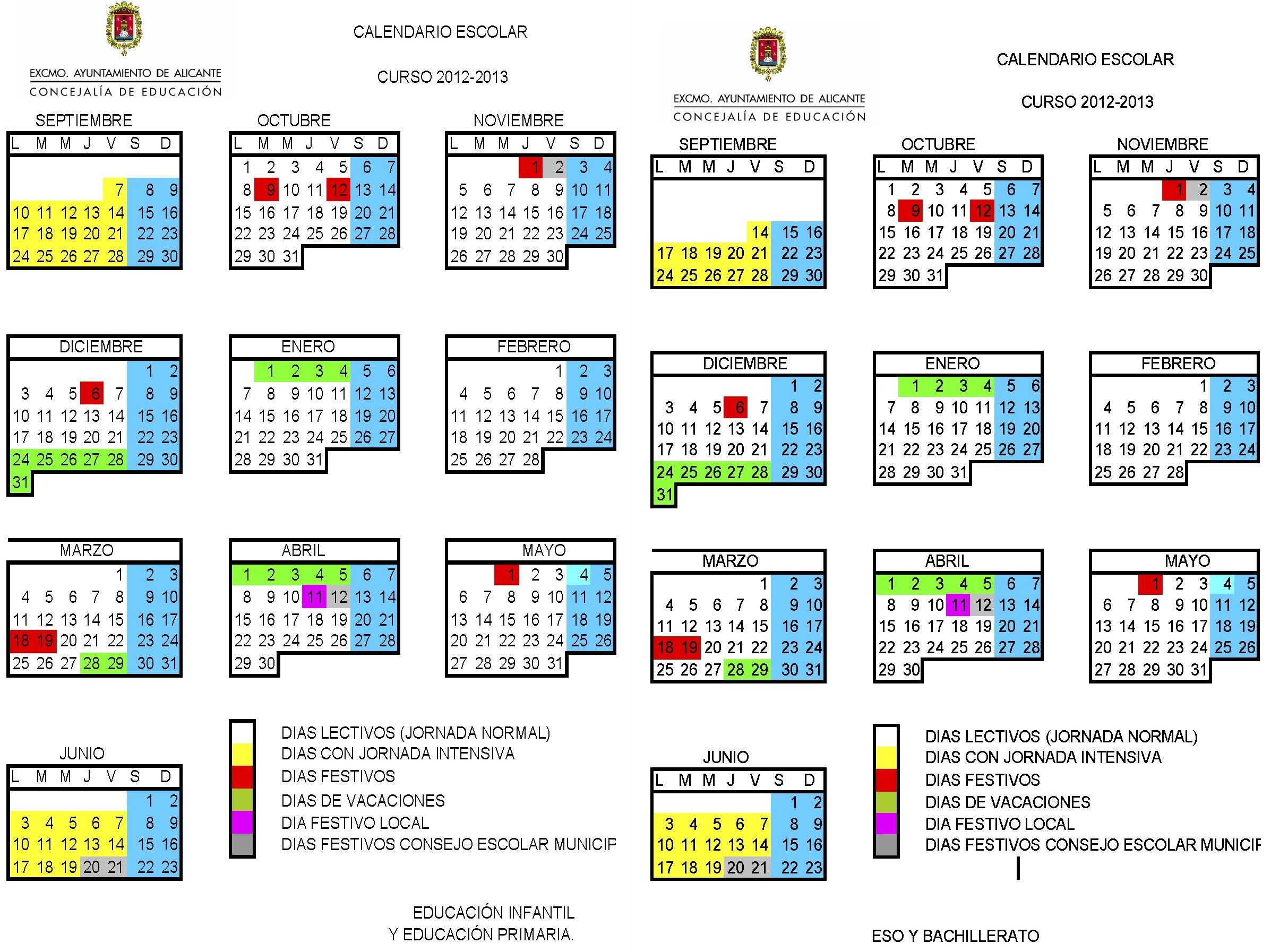 calendario escolar 2012 2013