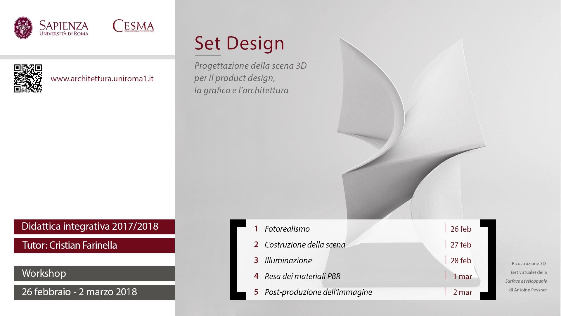 CESMA 2018 Set design pro tazione della scena 3D per il product design la grafica e l architettura
