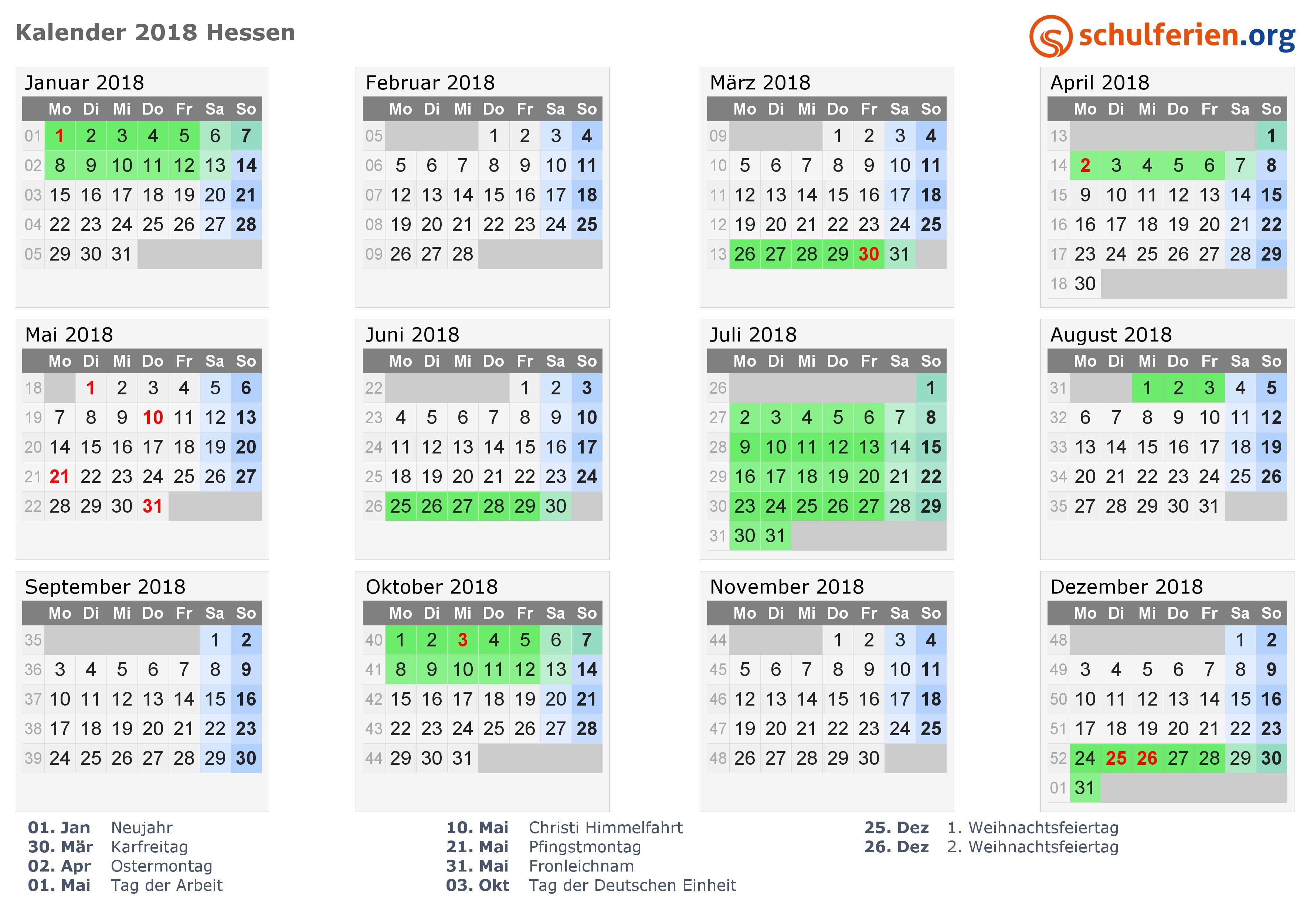 Kalender 2018 mit Ferien und Feiertagen Hessen