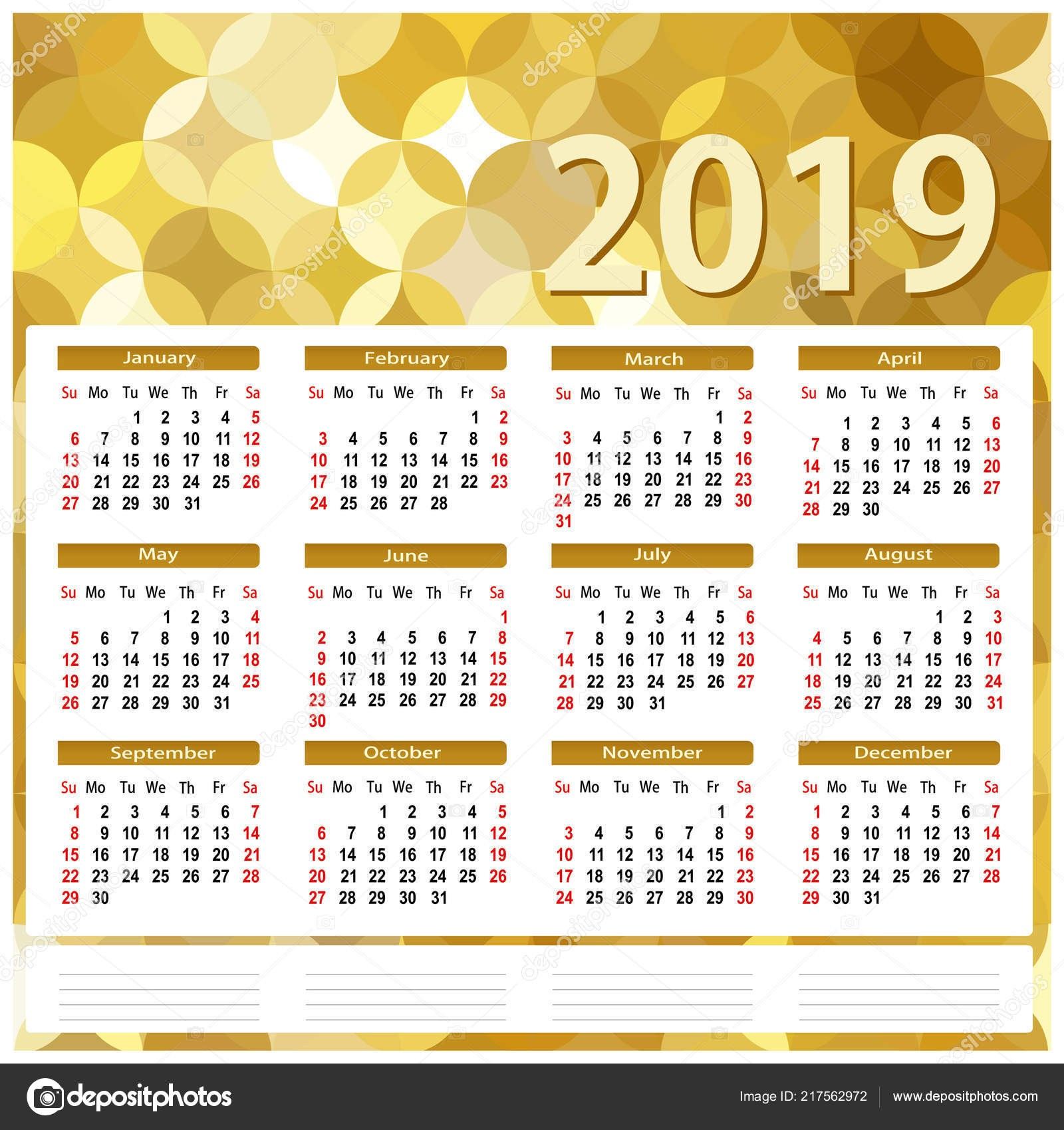 Kalendář 2019 Abstraktn zlaté pozad Vektorové ilustrace plochá — Vektor od jodo19