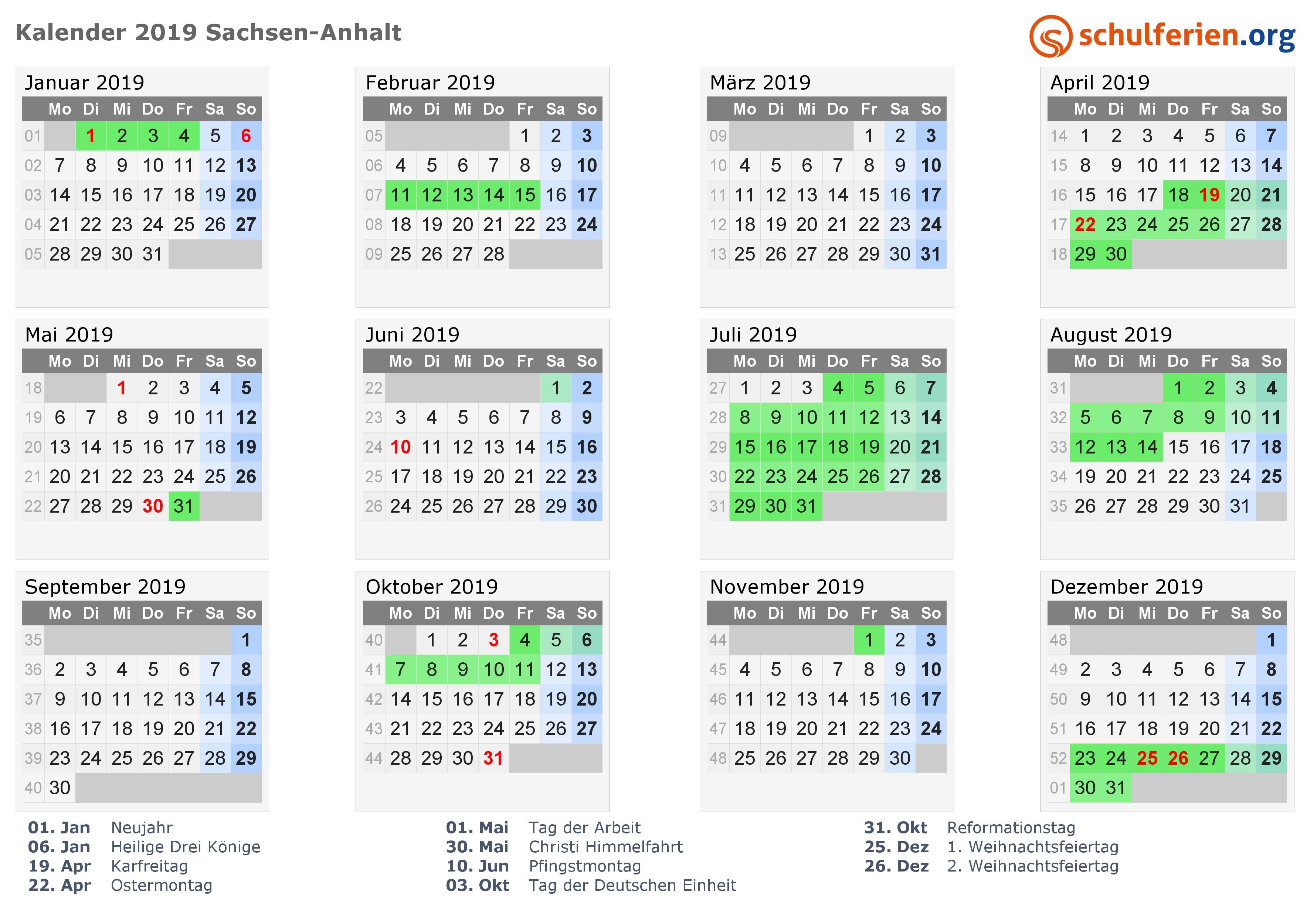 Kalender 2019 mit Ferien und Feiertagen Sachsen Anhalt