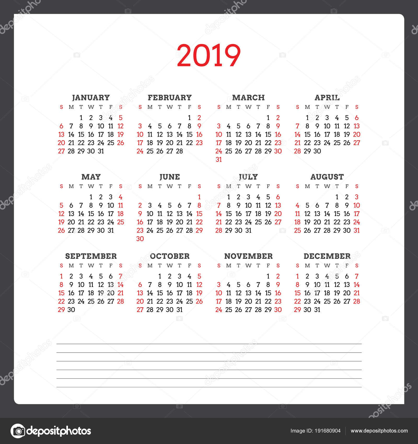 Kalendář na rok 2019 T½den začná v neděli Åablona návrhu Å¡ablony