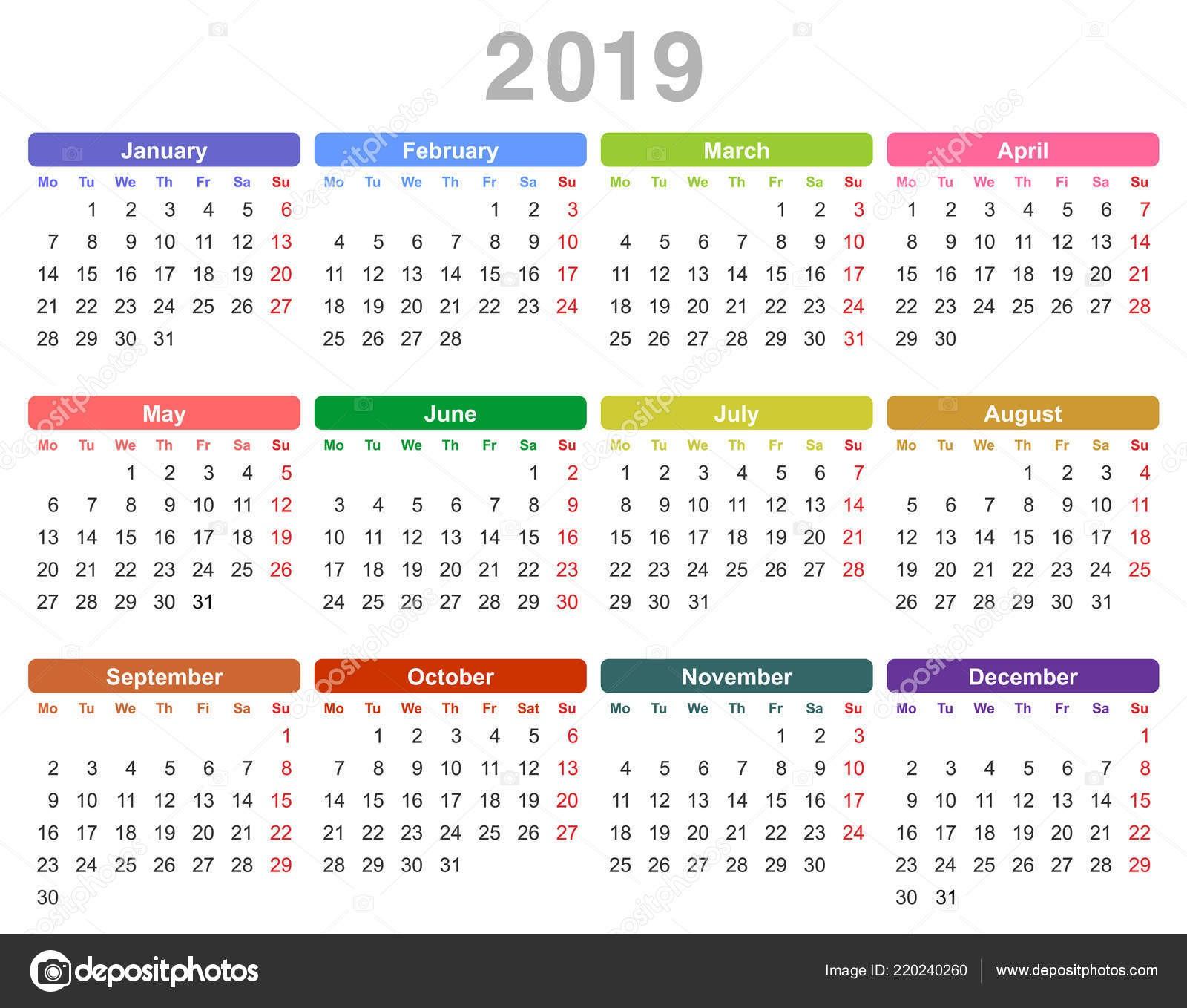 Calendario 2019 Vector Free Más Populares Ilustracja Wektorowa 2019 Roku Roczny Kalendarz Kolor Poniedziałek Of Calendario 2019 Vector Free Más Arriba-a-fecha Info Regarding January Calendar 2019 Singapore Calendar Online 2019