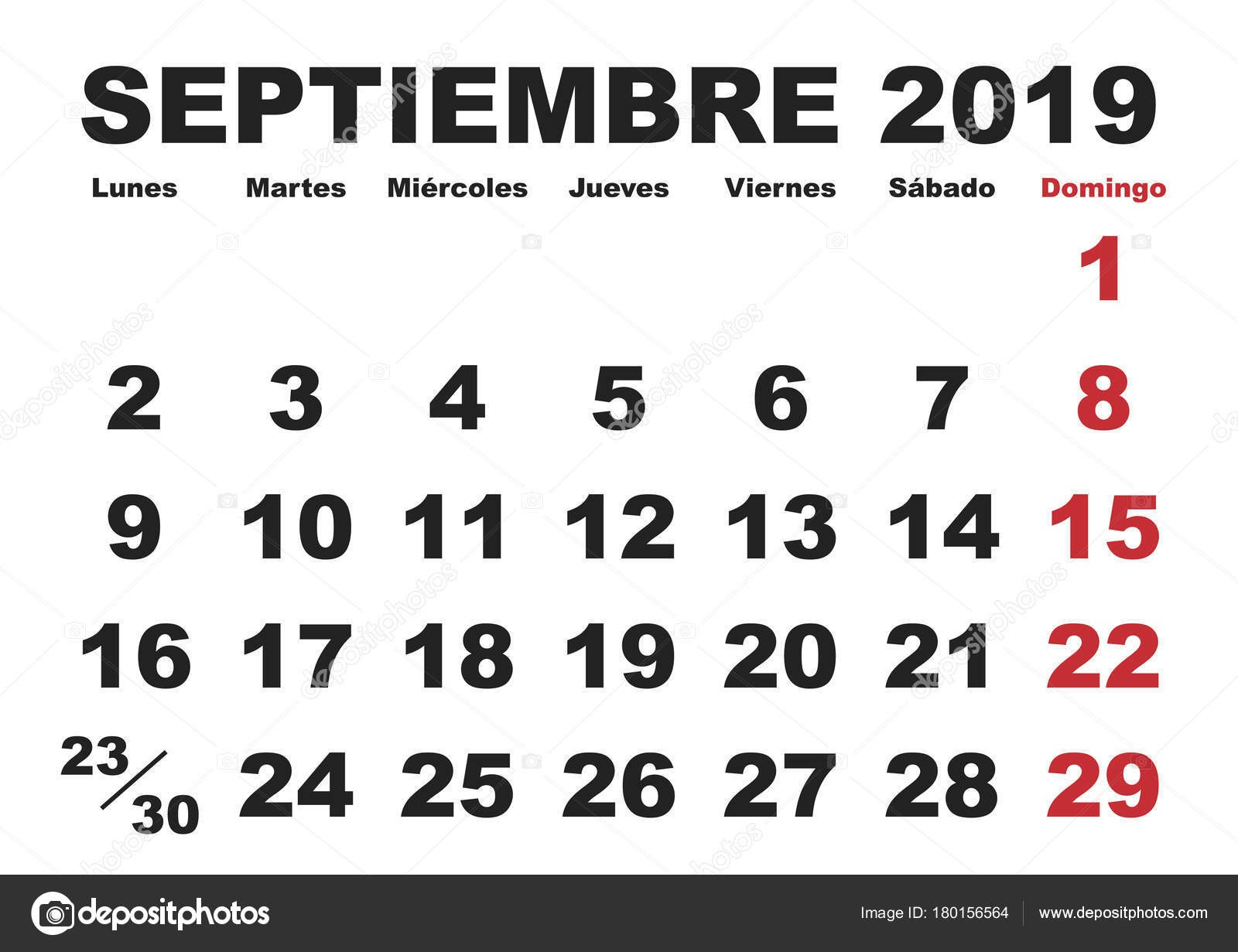 Zář měsc v roce 2019 Nástěnn½ kalendář ve Å¡panělÅ¡tině Septiembre 2019 Calendario 2019 — Vektor od alfonsodetomas