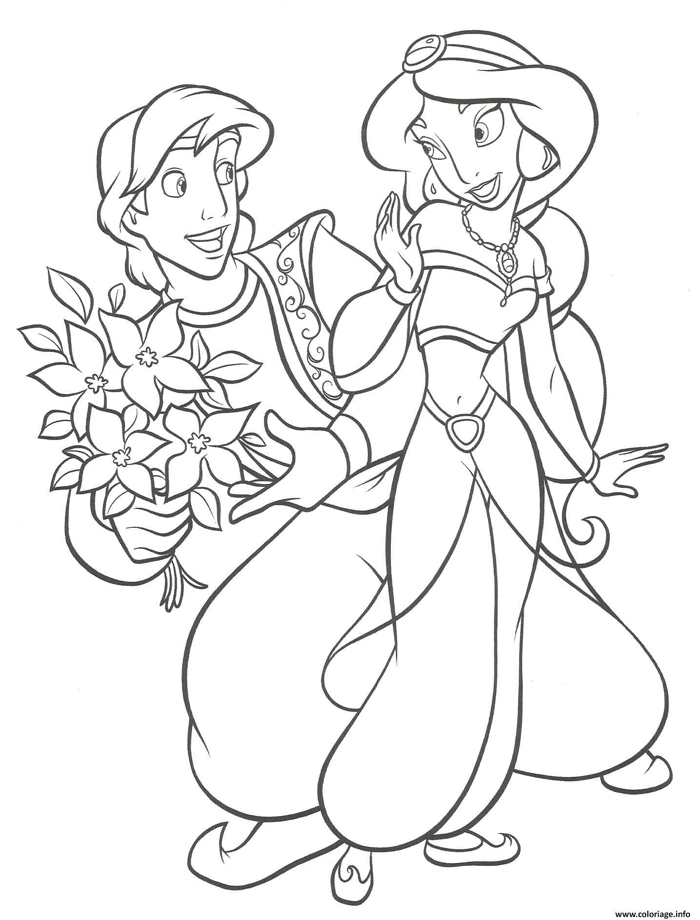 coloriage aladdin et jasmin dessin for coloriage jasmine et aladdin gratuit