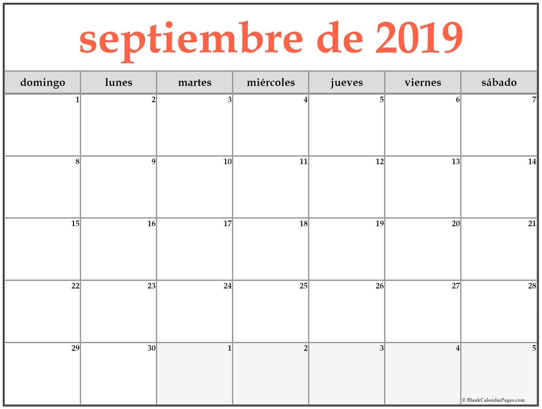 septiembre de 2019 calendario para imprimir