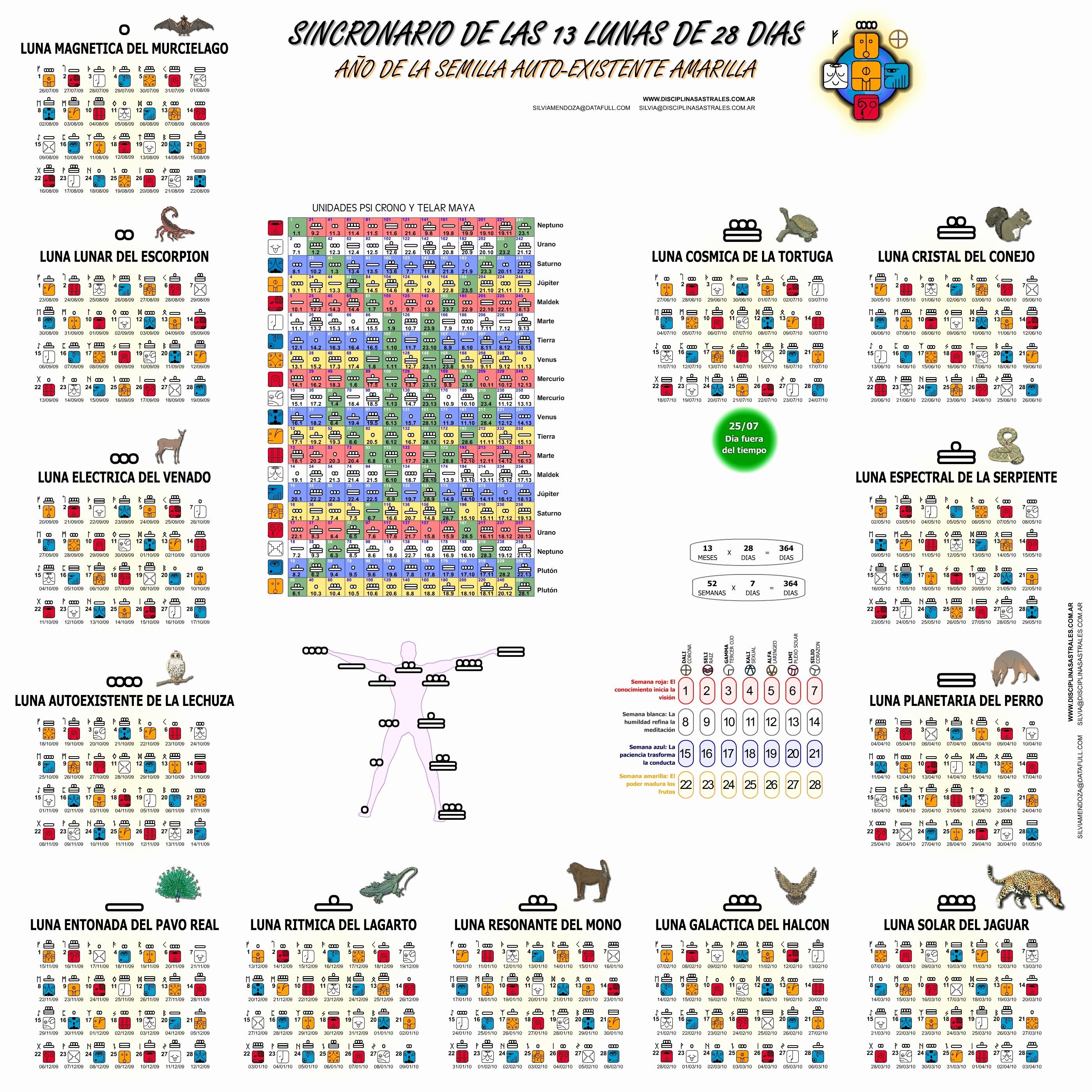 Calendario De Las 13 Lunas 2019 Calendario De Trece Lunas Universo