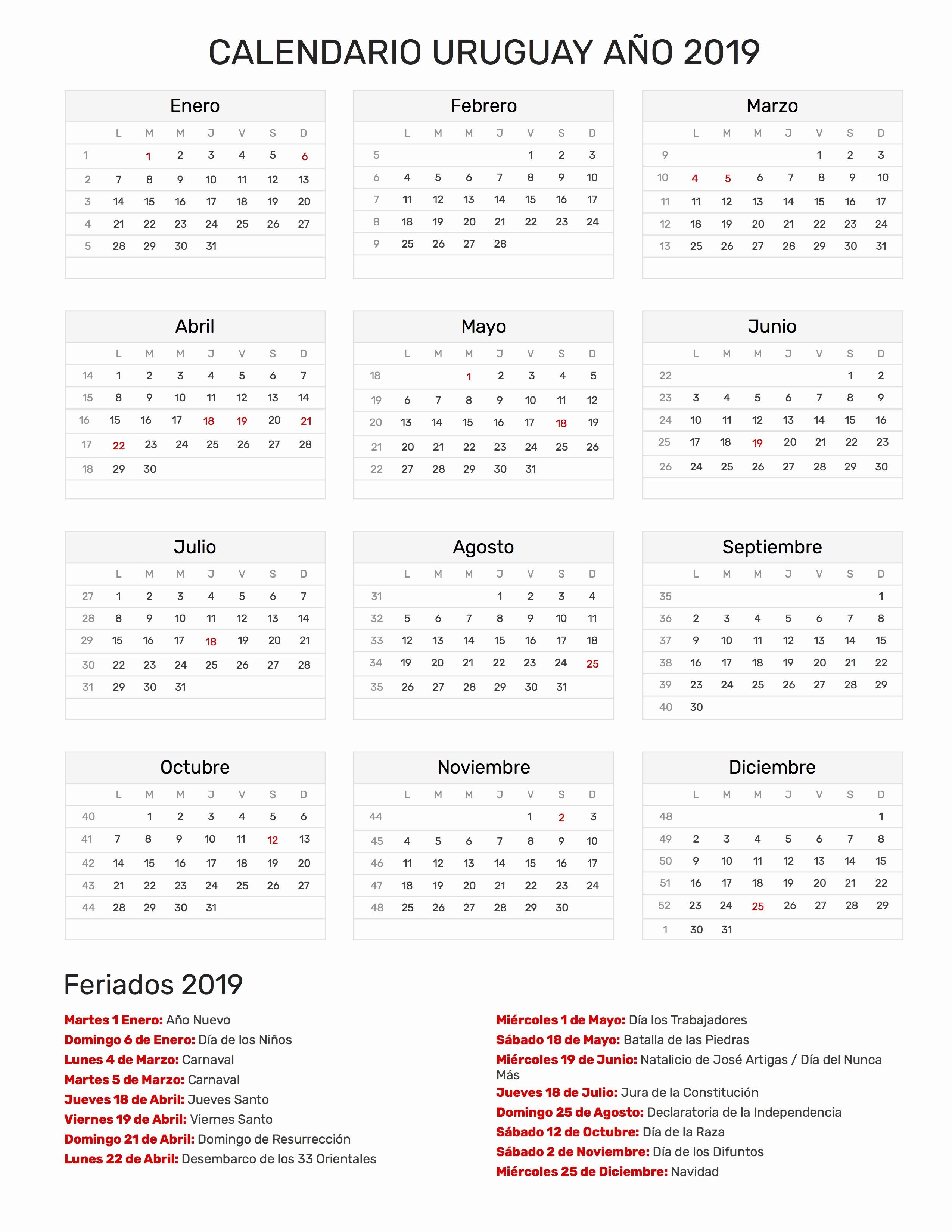 Calendario Estaciones Del A±o 2019 Calendario Uruguay Ano 2019 Feriados