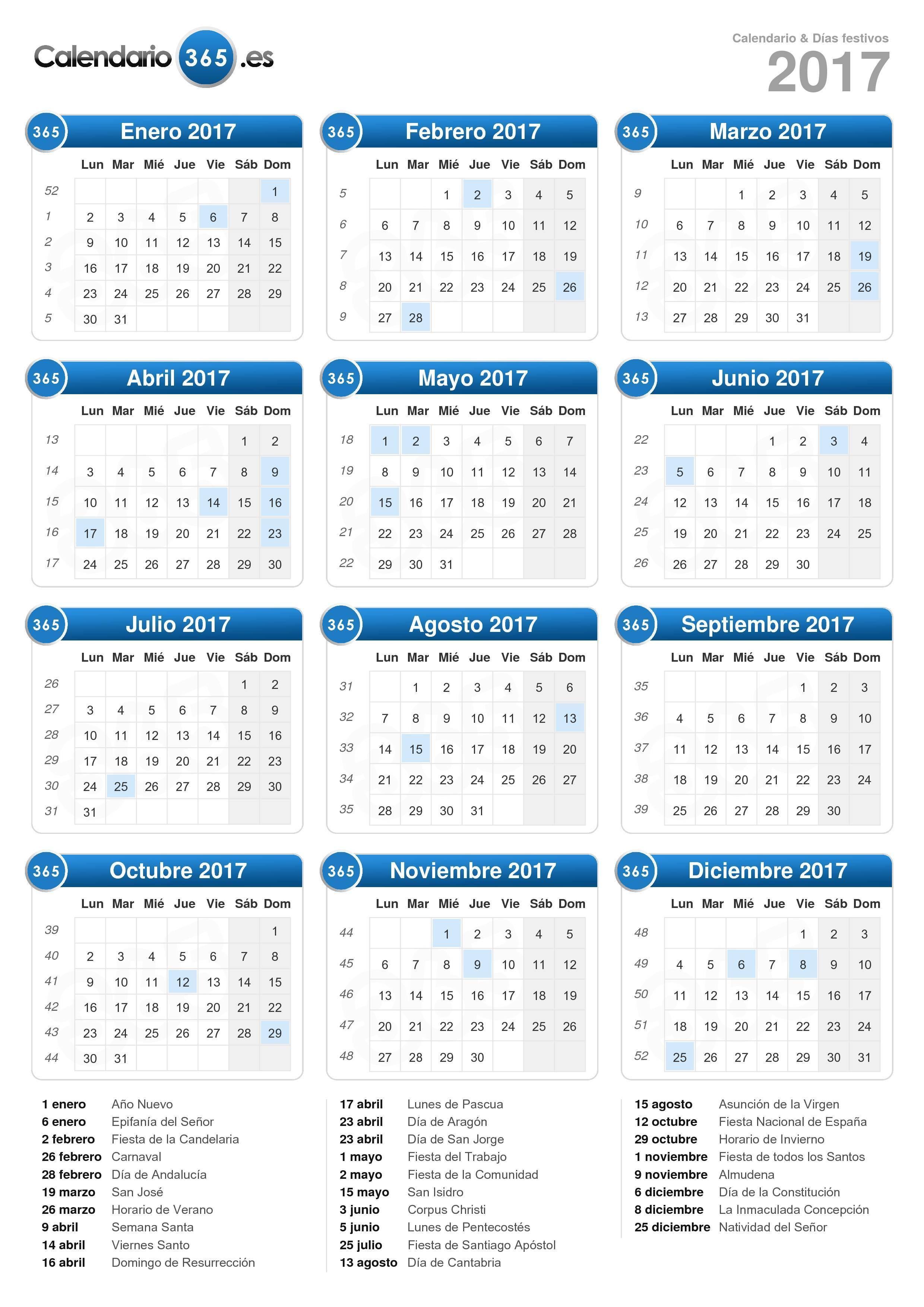 calendario 2017 formato vertical