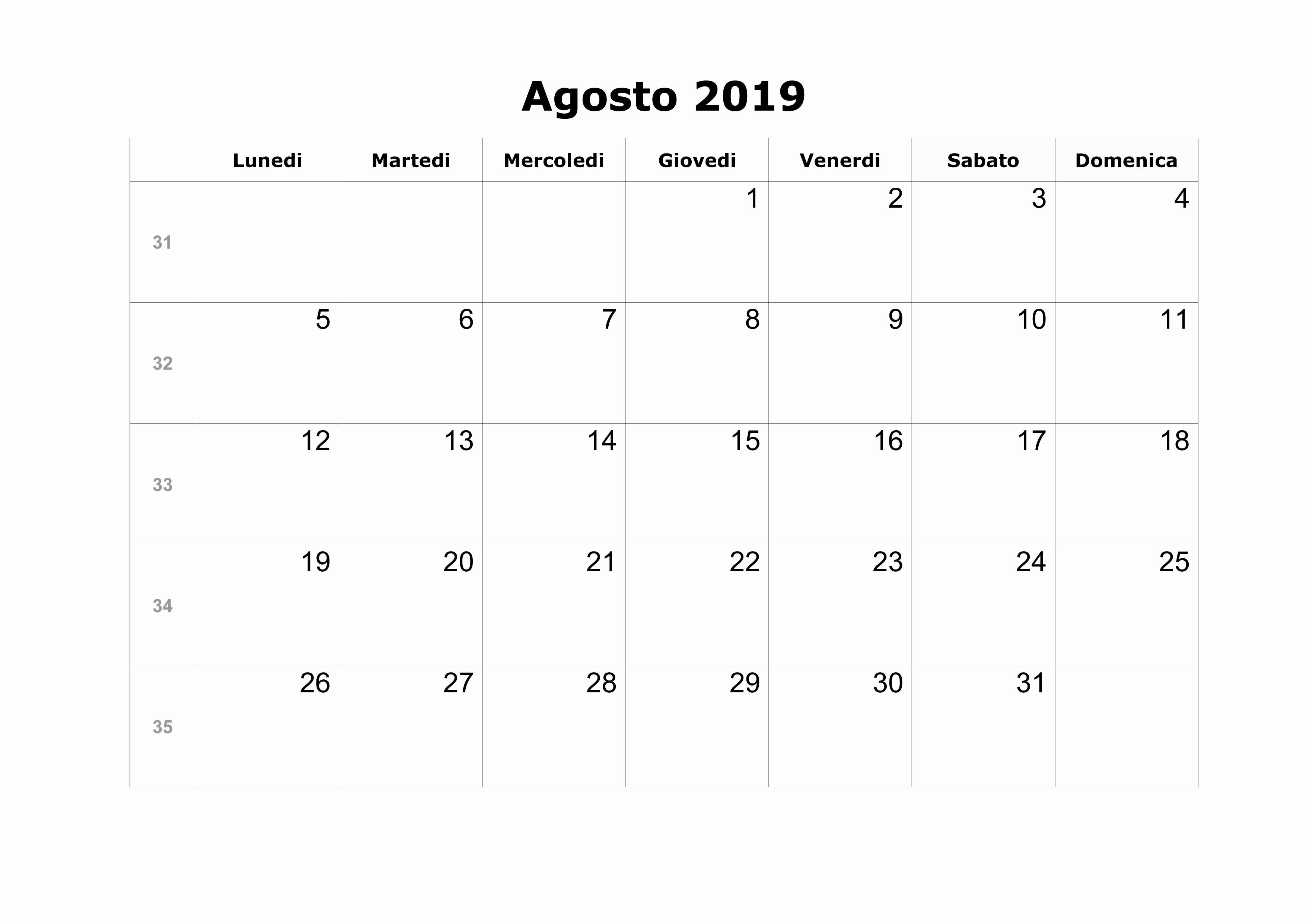 Agisto 2019 Calendario Agosto 2019