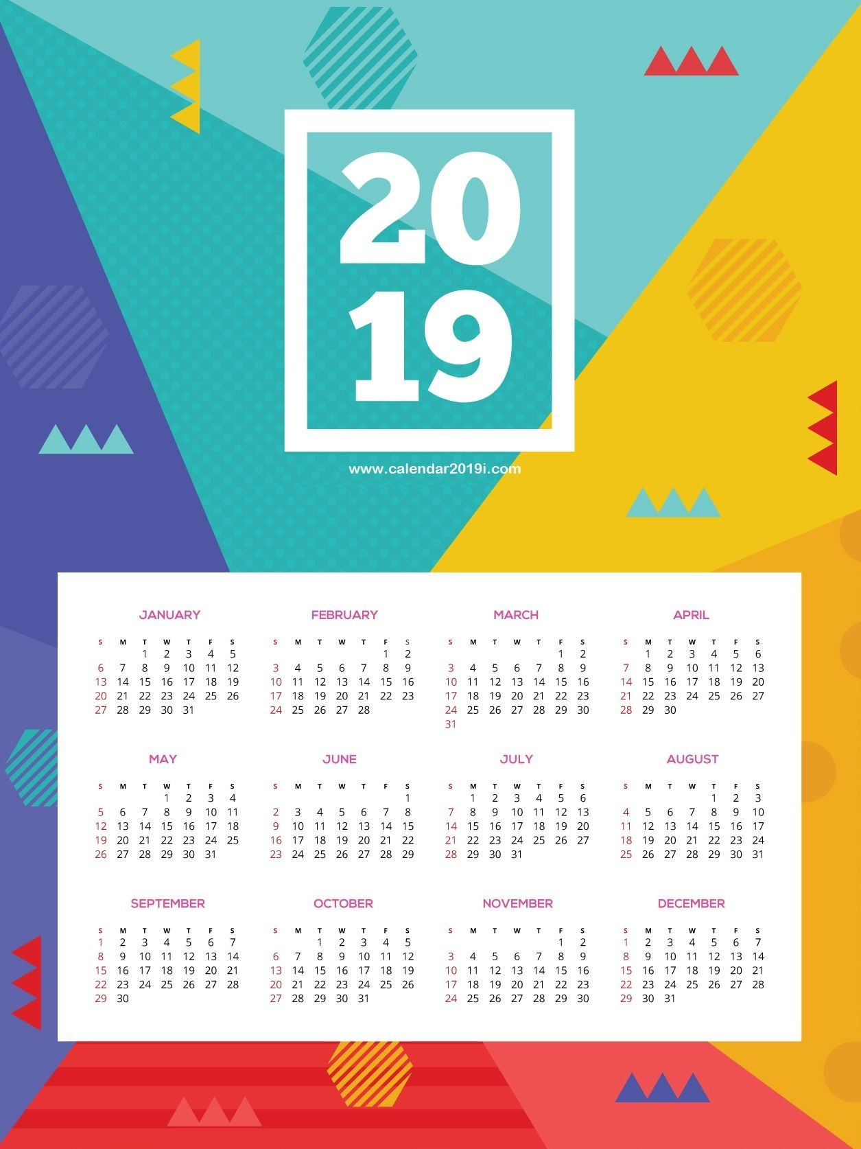 Printable 2019 HD Wall Calendar