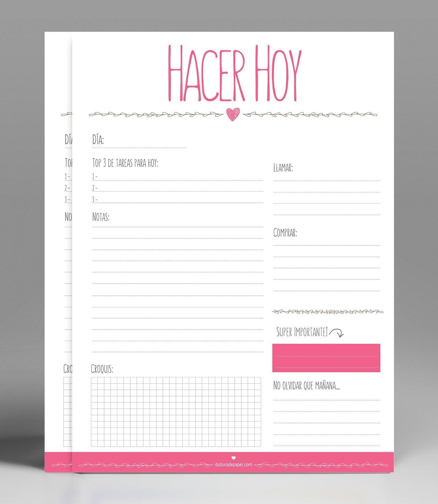 Planificador diario imprimible gratis para descargar e imprimir
