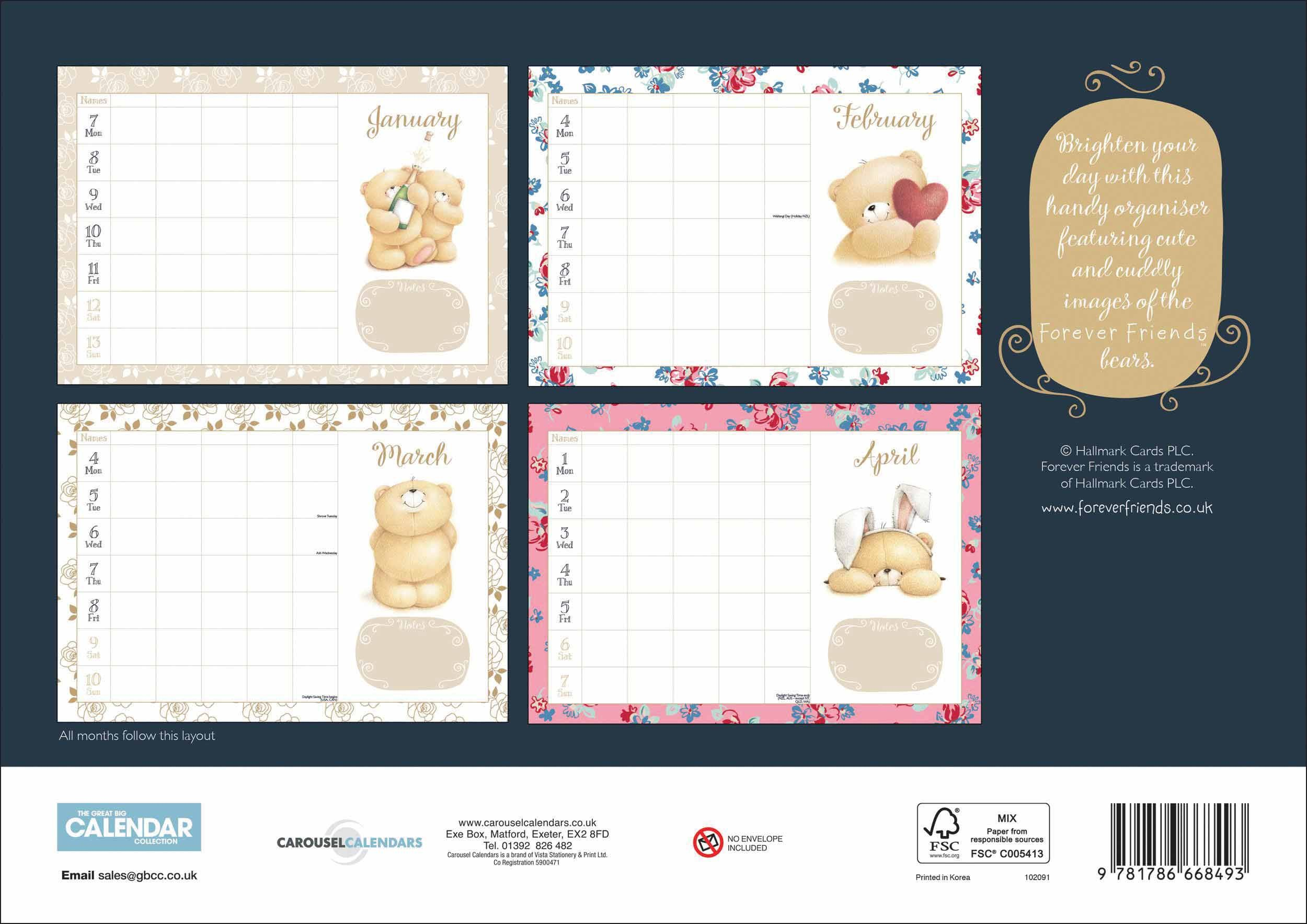 Forever Friends A4 Family Planner 2019 Printable Monthly Desk Calendar