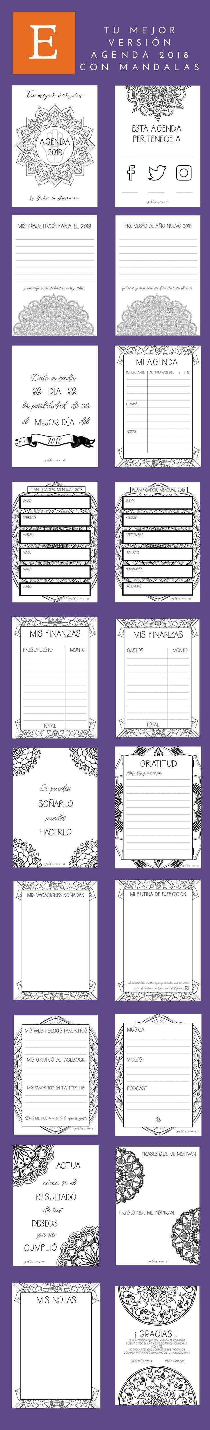 Agenda 2018 con Mandalas para colorear y consignas de journaling Bullet journal imprimible para dise±ar tu a±o y vivir tu mejor versi³n