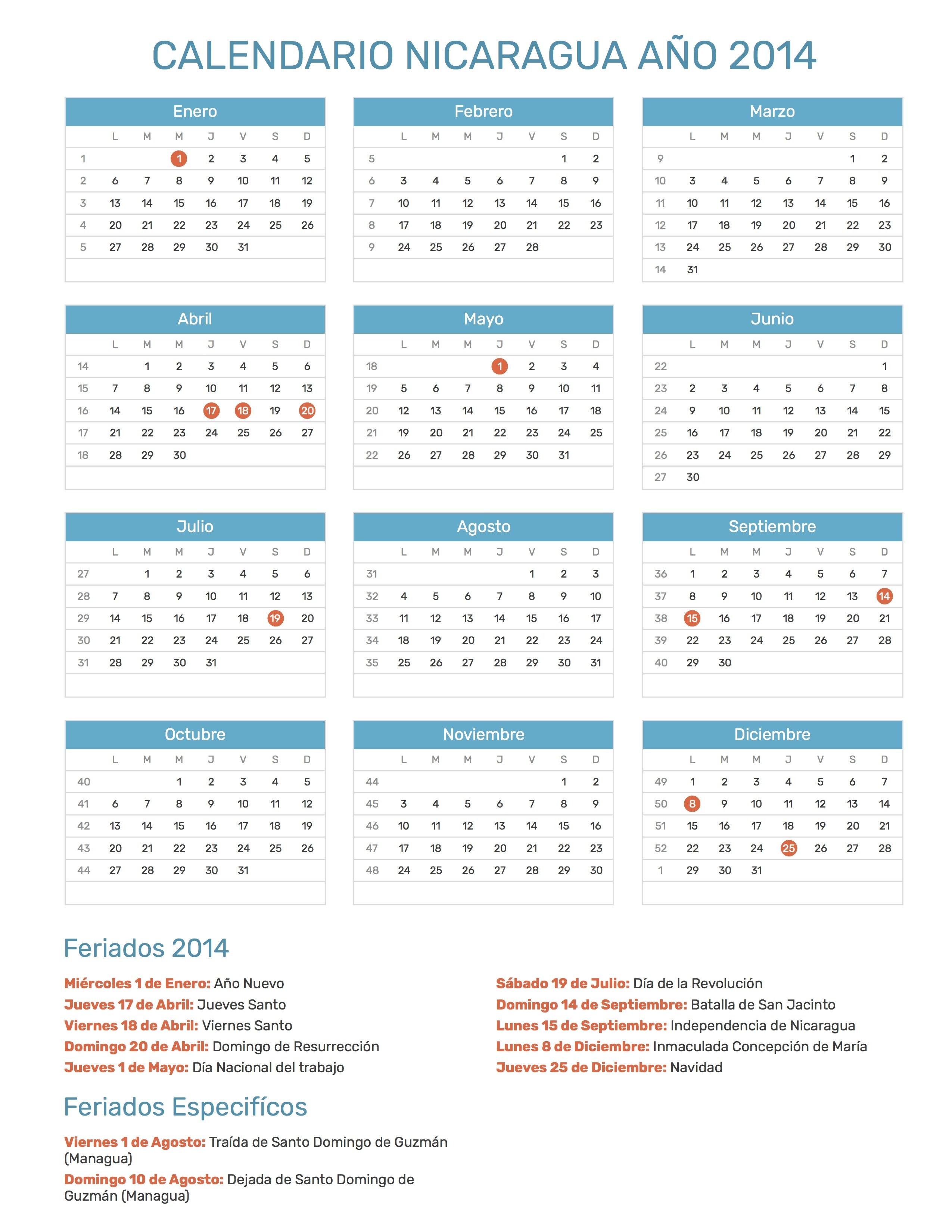 2014 calendario primero mondays espa±ol Negrita
