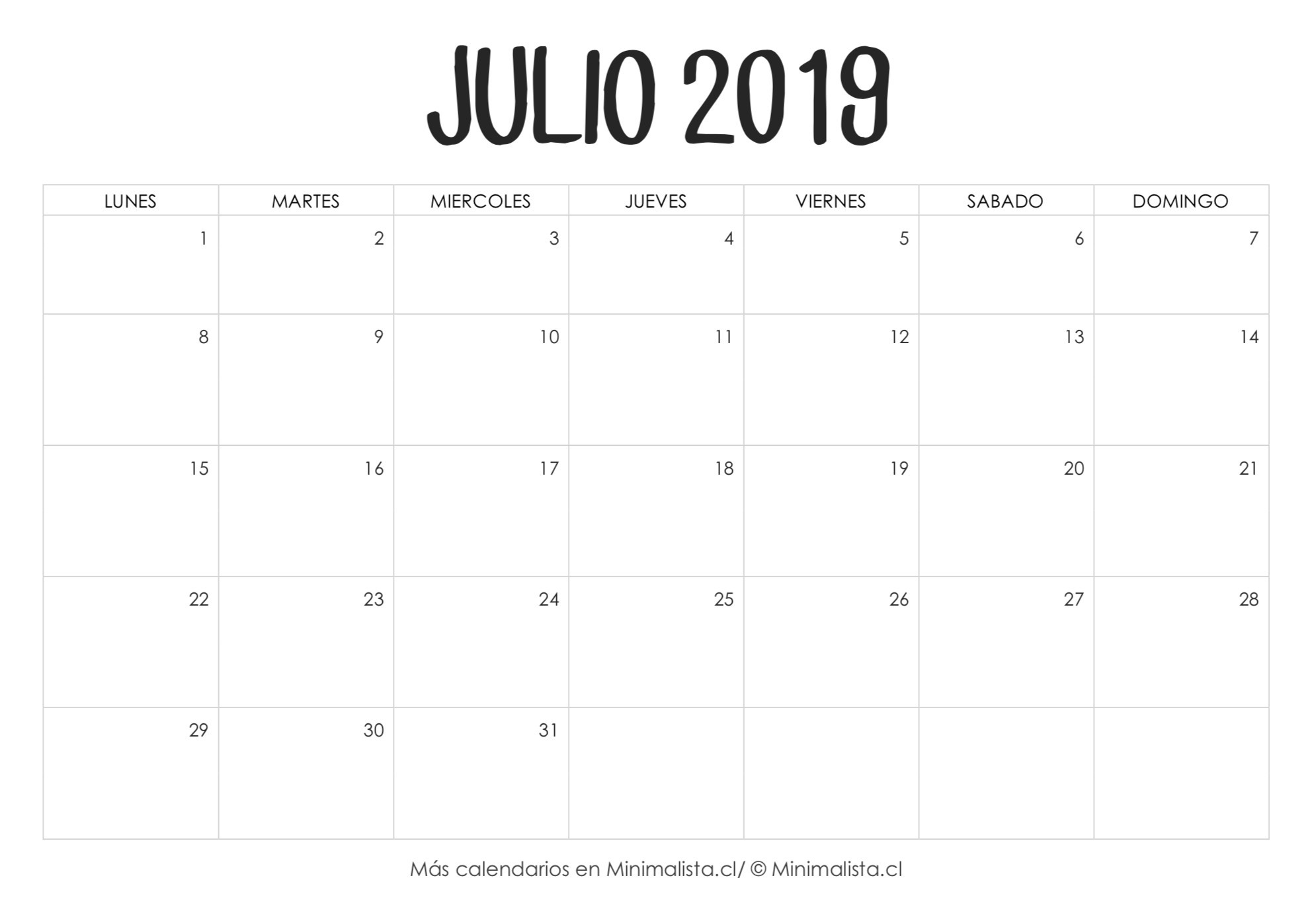 Calendario Julio 2019 para Imprimir