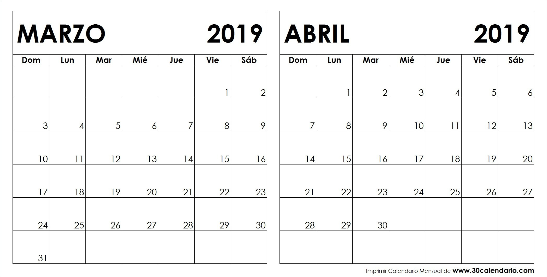 Calendario 2019 Chile Con Feriados Para Imprimir.Calendario Imprimir Abril 2019
