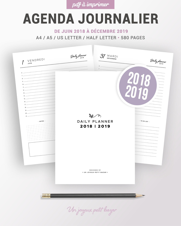 AGENDA JOURNALIER 2018 2019  imprimer planner journalier 2018 2019 1 jour par page