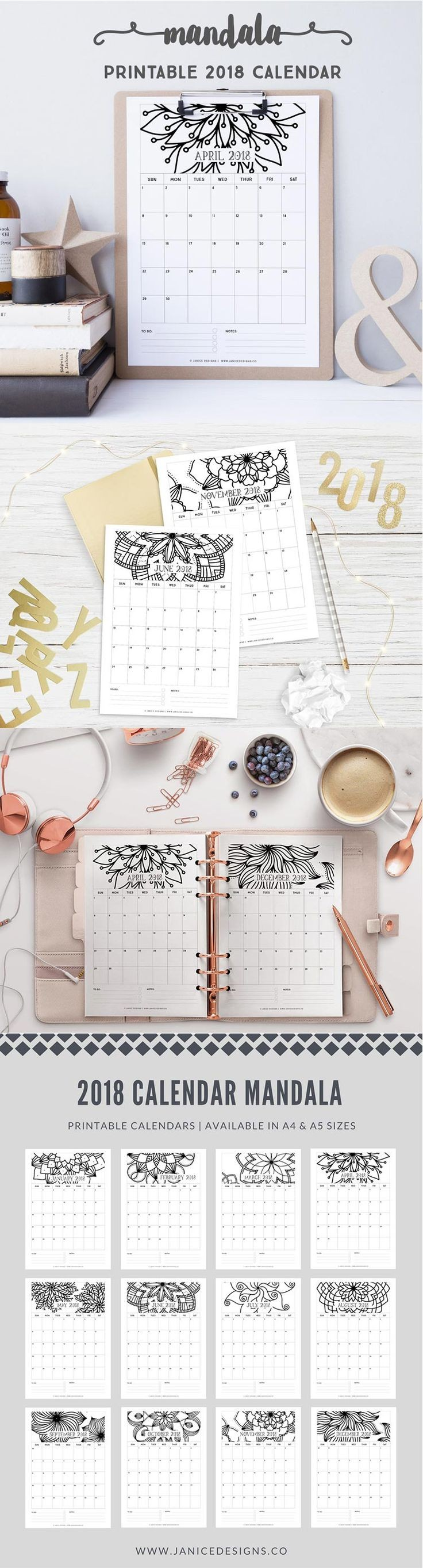 2018 Calendar Mandala