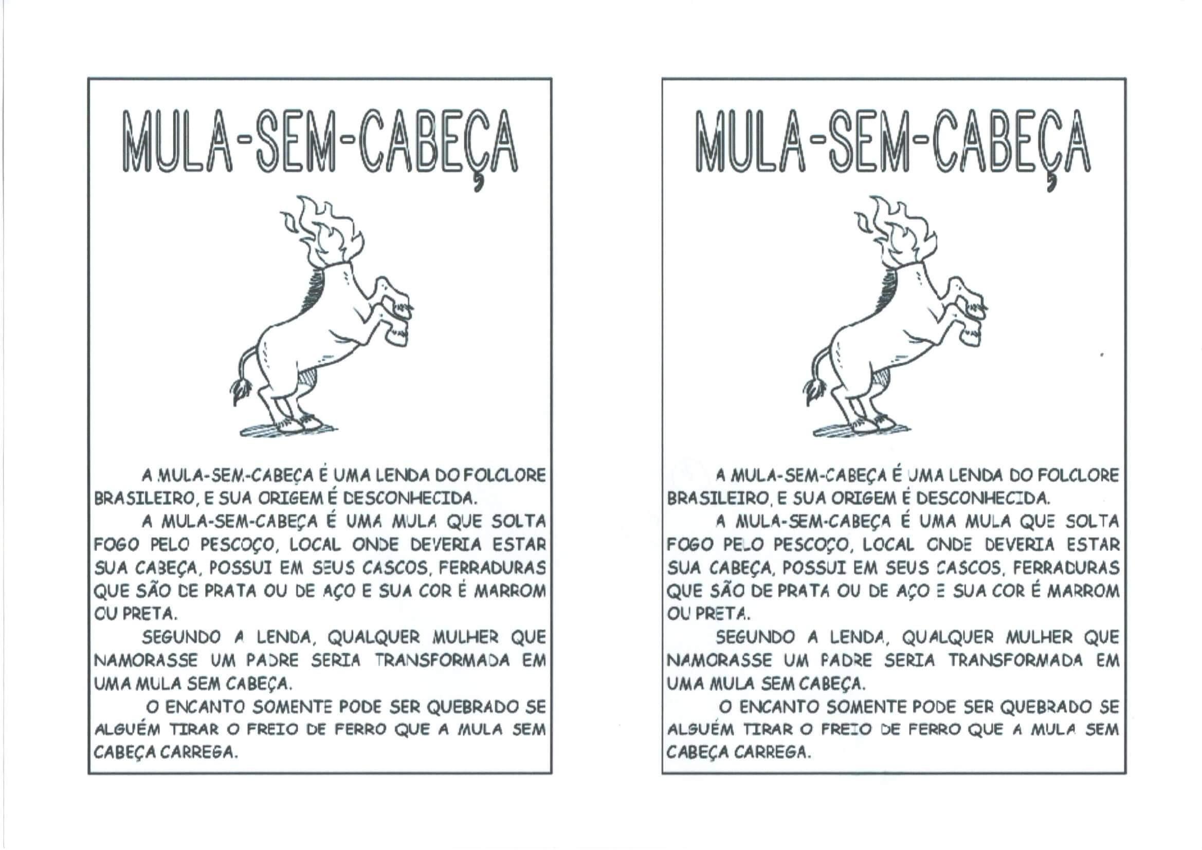 Atividade o Tema folcl³rico permite trabalhar os personagens Mula sem Cabe§a e Saci Pererª Folha 2