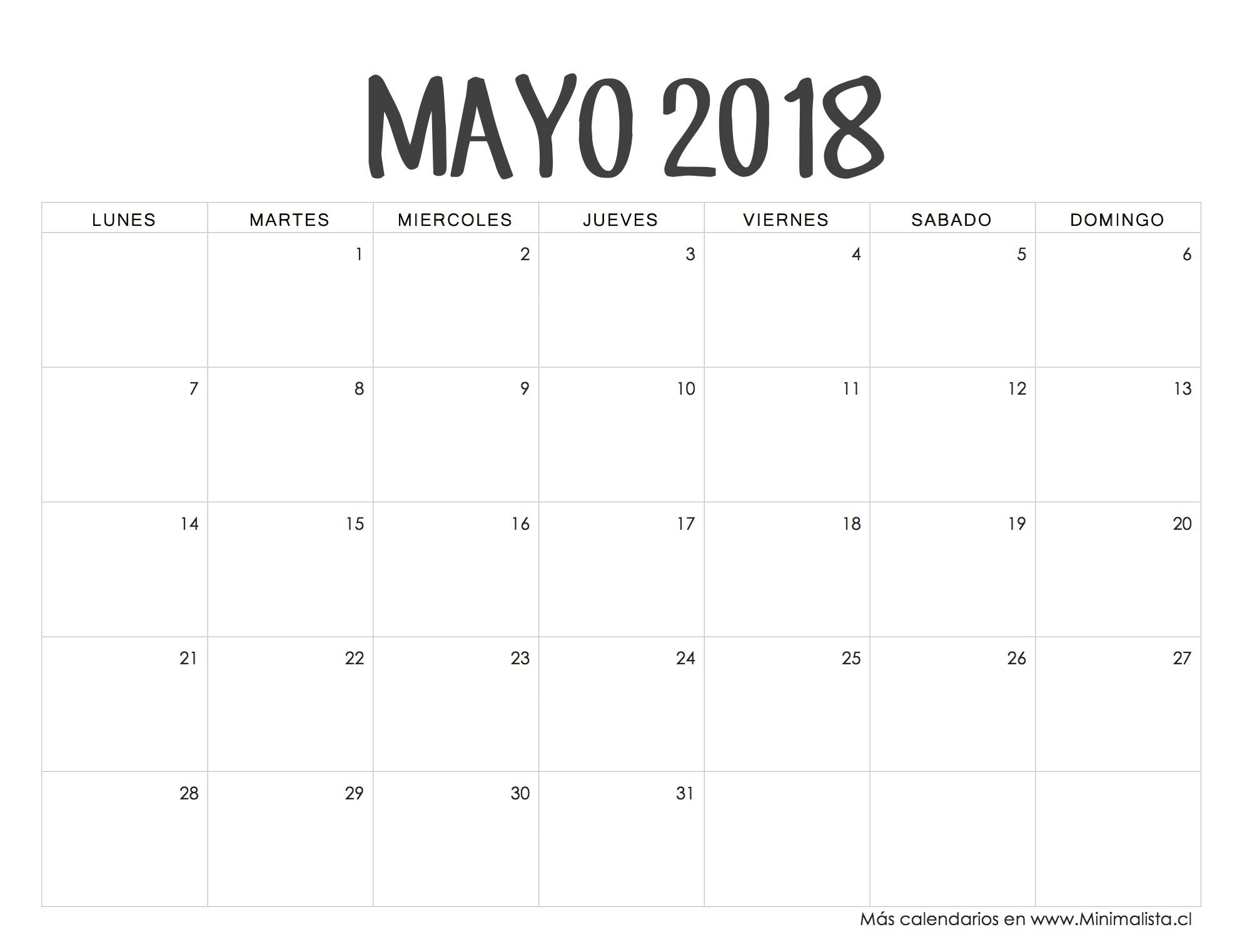 Calendarios 2018 para Imprimir Minimalista Calendario Mayo 2018