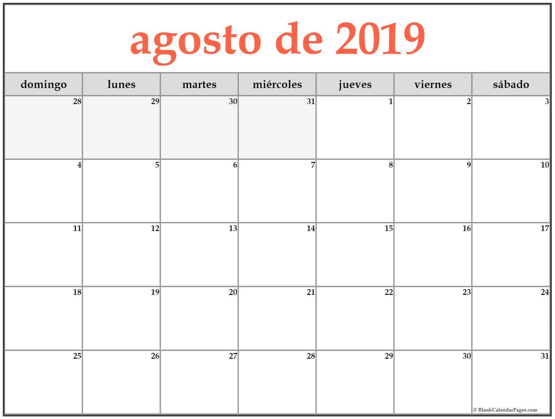 CAL=agosto de 2019 calendario