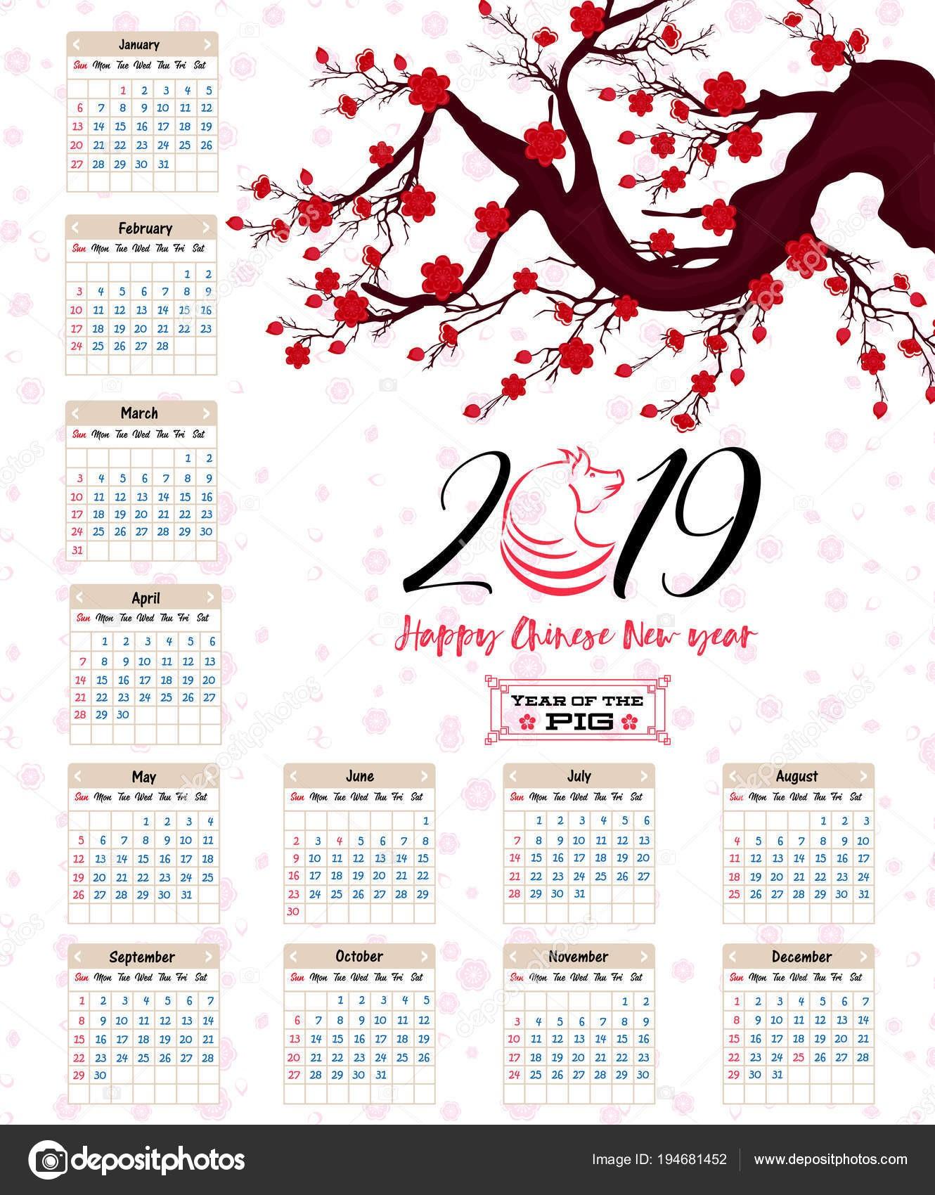 Kalendář 2019 čnsk½ kalendář pro Å¡Å¥astn½ nov½ rok 2019 rok prasete — Vektor od