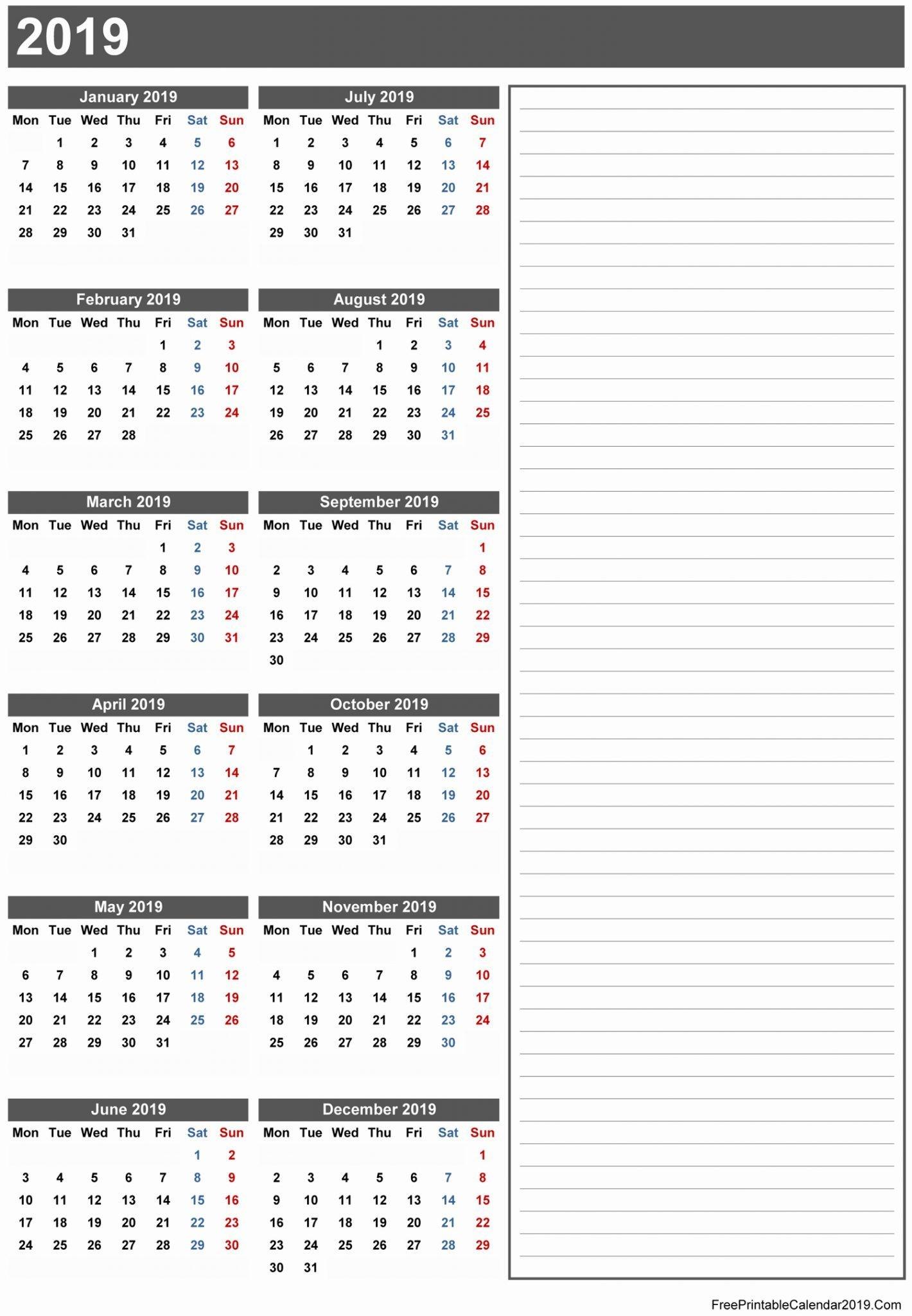 Free Printable Calendar 2019 Templates Download Blank Calendar