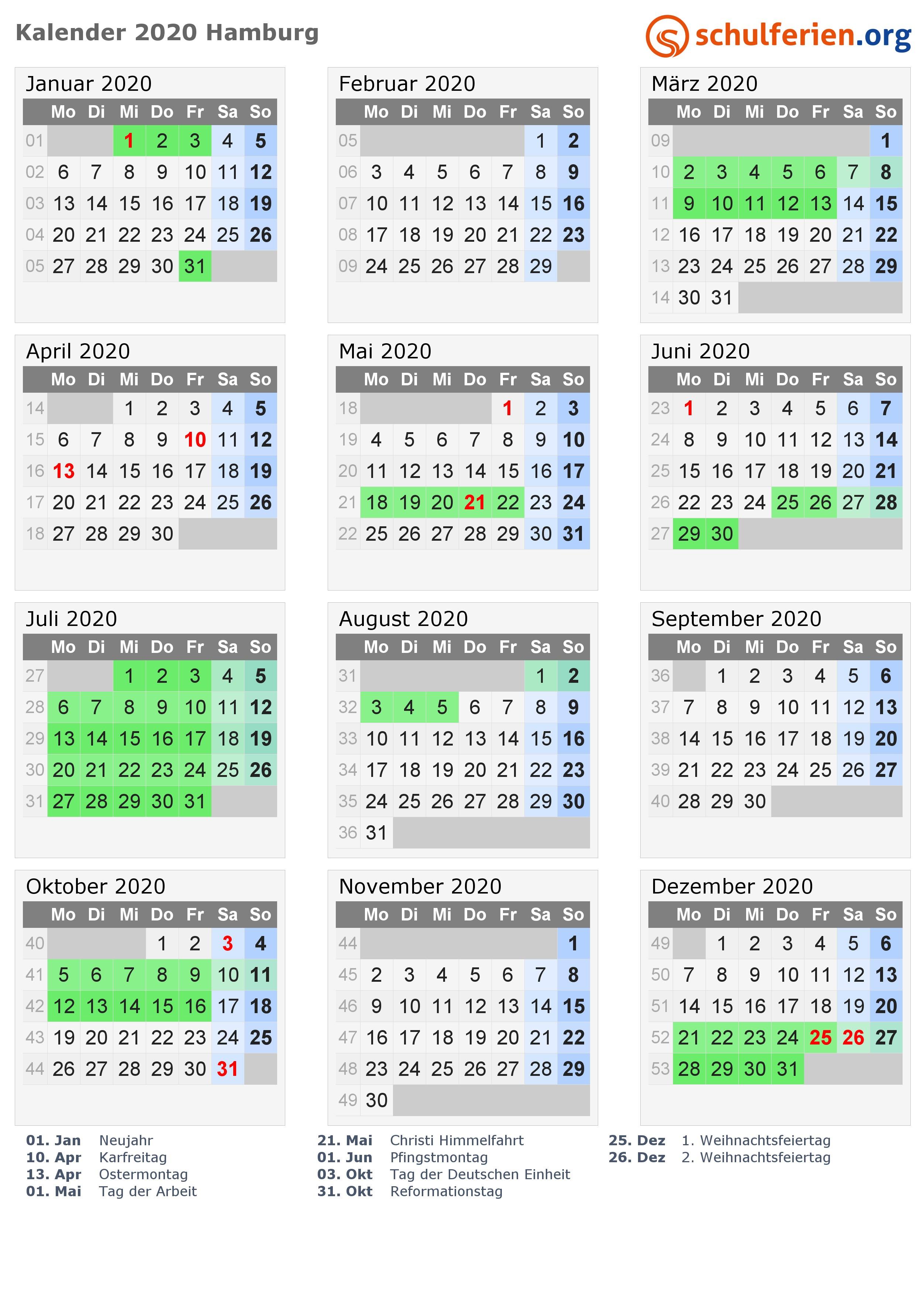 Kalender 2018 2019 2020 Hamburg